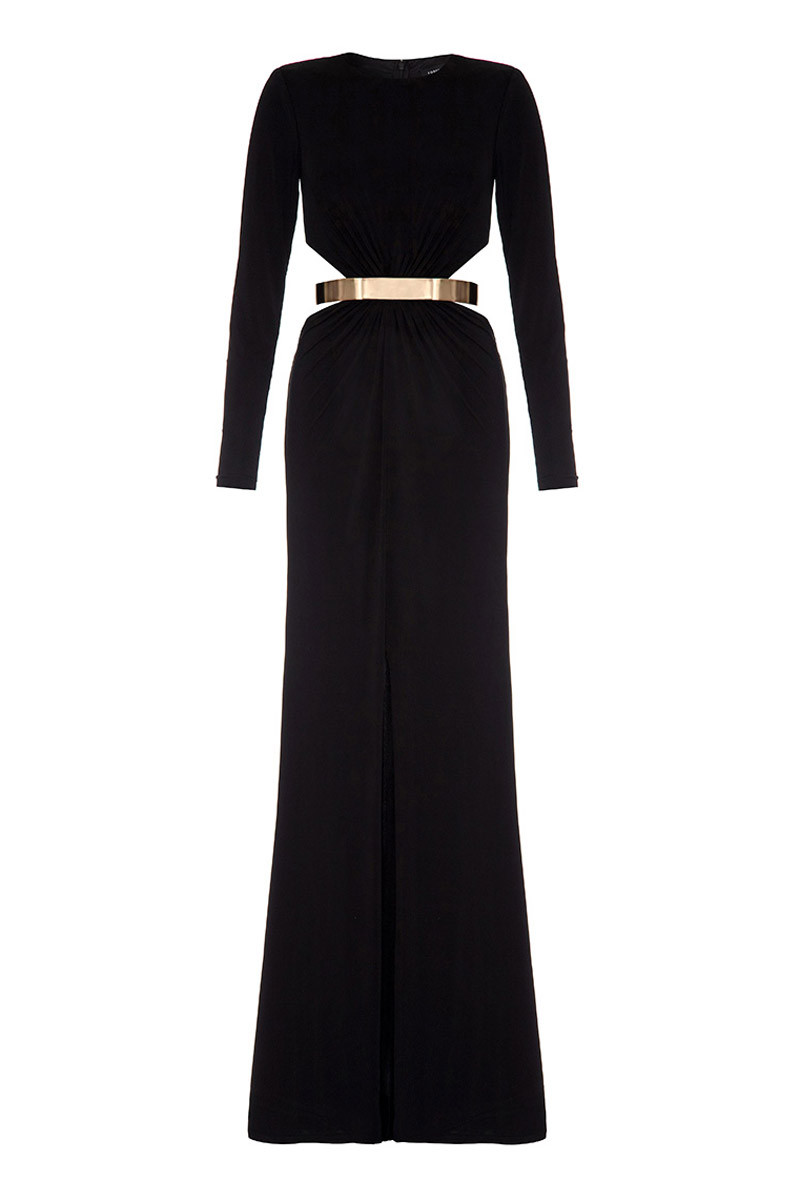 14795e824f190 Forever Unique - 'Harrie' Long Sleeved maxi dress Black Front (FW0910) ...