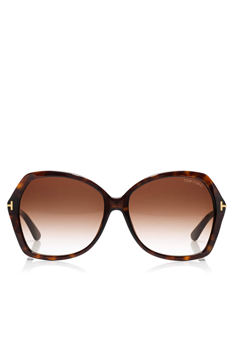 504ad2a30d90 TOM FORD -  Carola  Square Sunglasses Dark Havana Brown Front (FT0328) ...