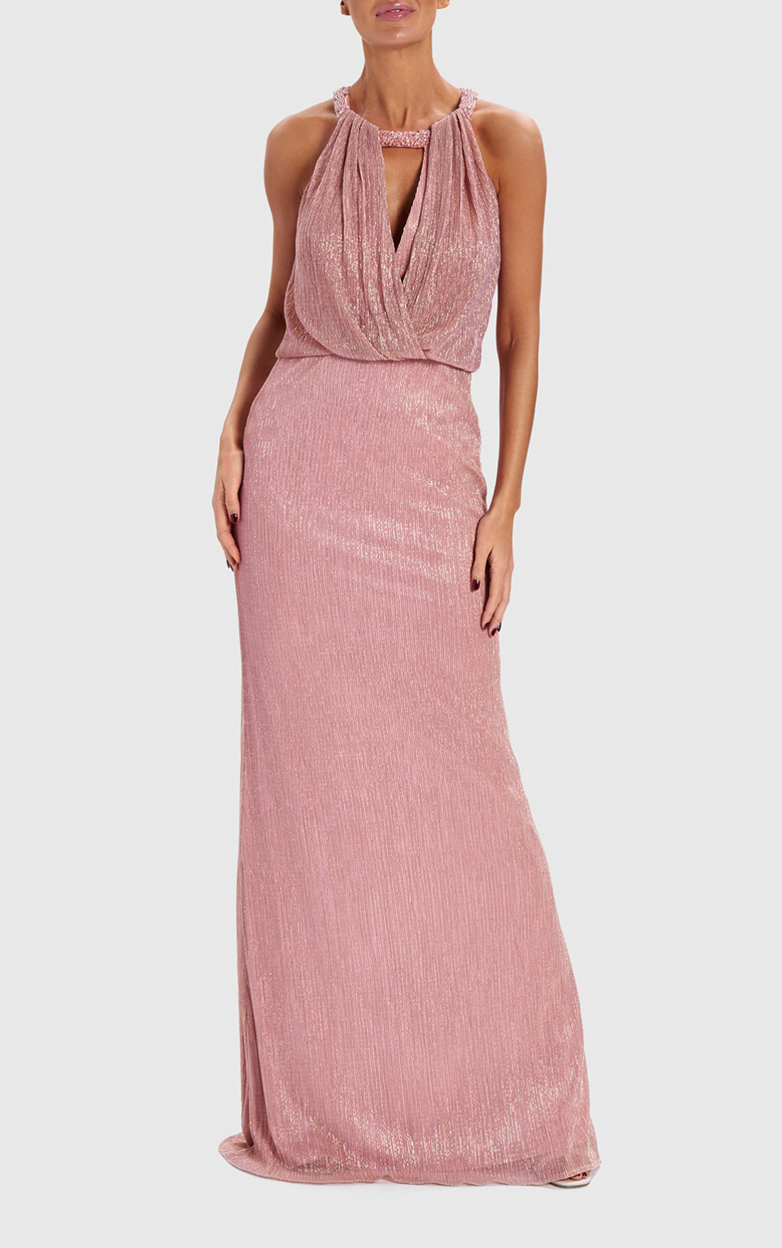 aad1535ffce0 Forever Unique - Shimmer Nude Metallic Draped Maxi Dress (AB0922) ...