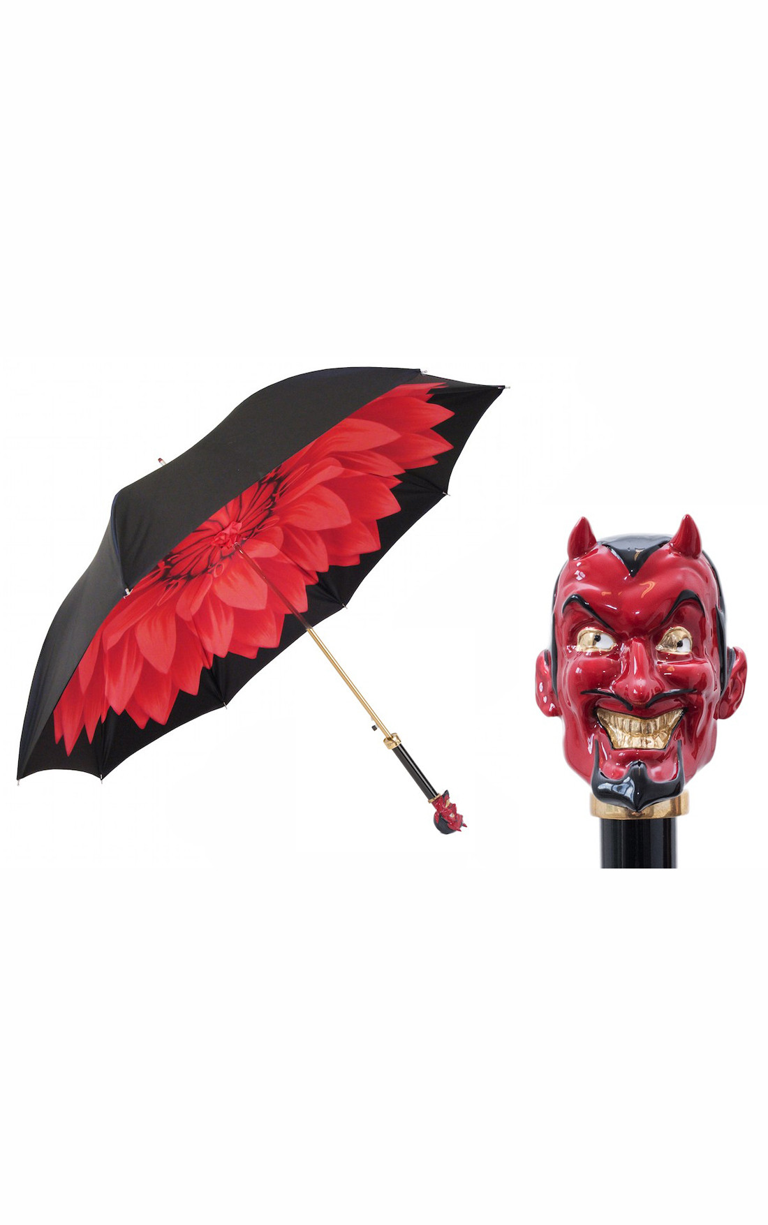 Pasotti - Black Double Canopy Umbrella with Red Lucifer Handle (189-21273/5-K77-LUCIFER-ROSSO)