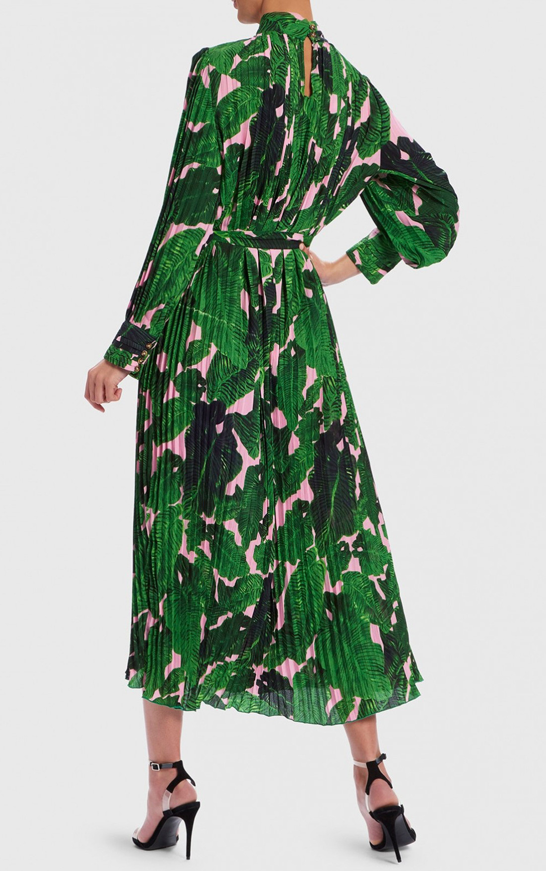 Forever Unique - Green And Pink Palm Print Midi Dress