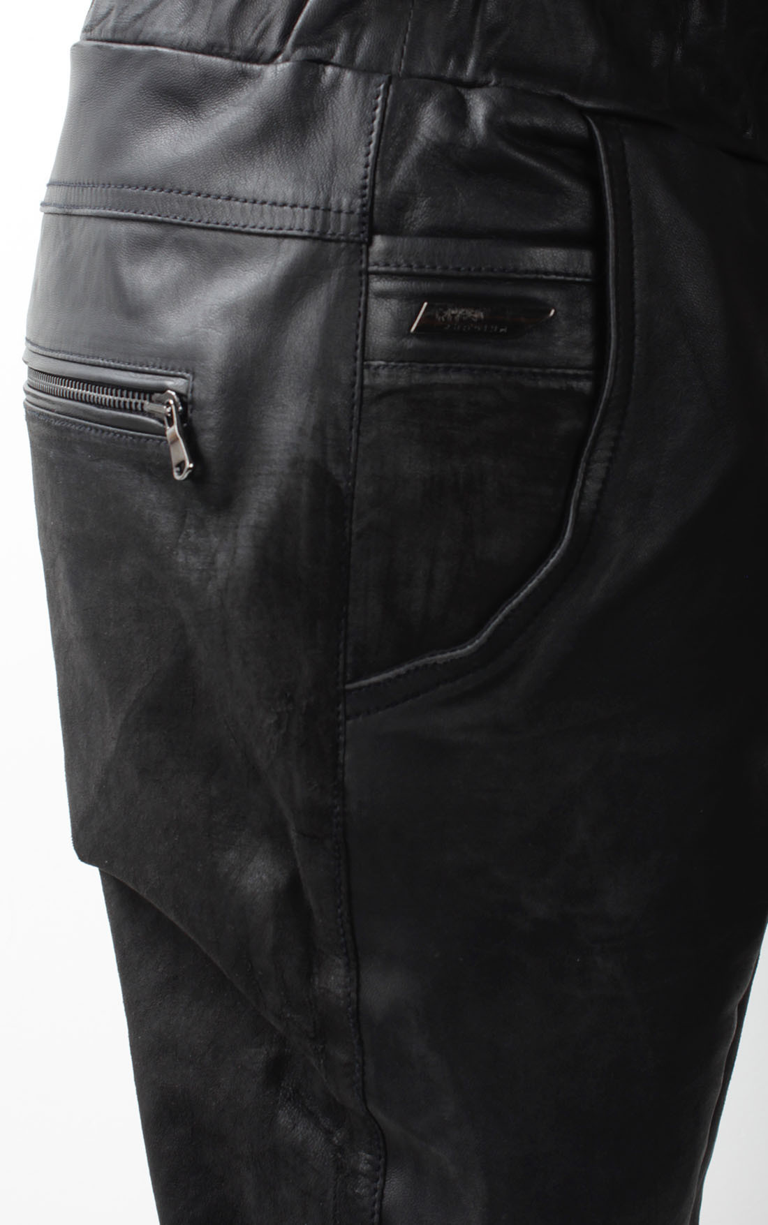 RH45 - Distressed Black Leather Sweatpants (BP26)