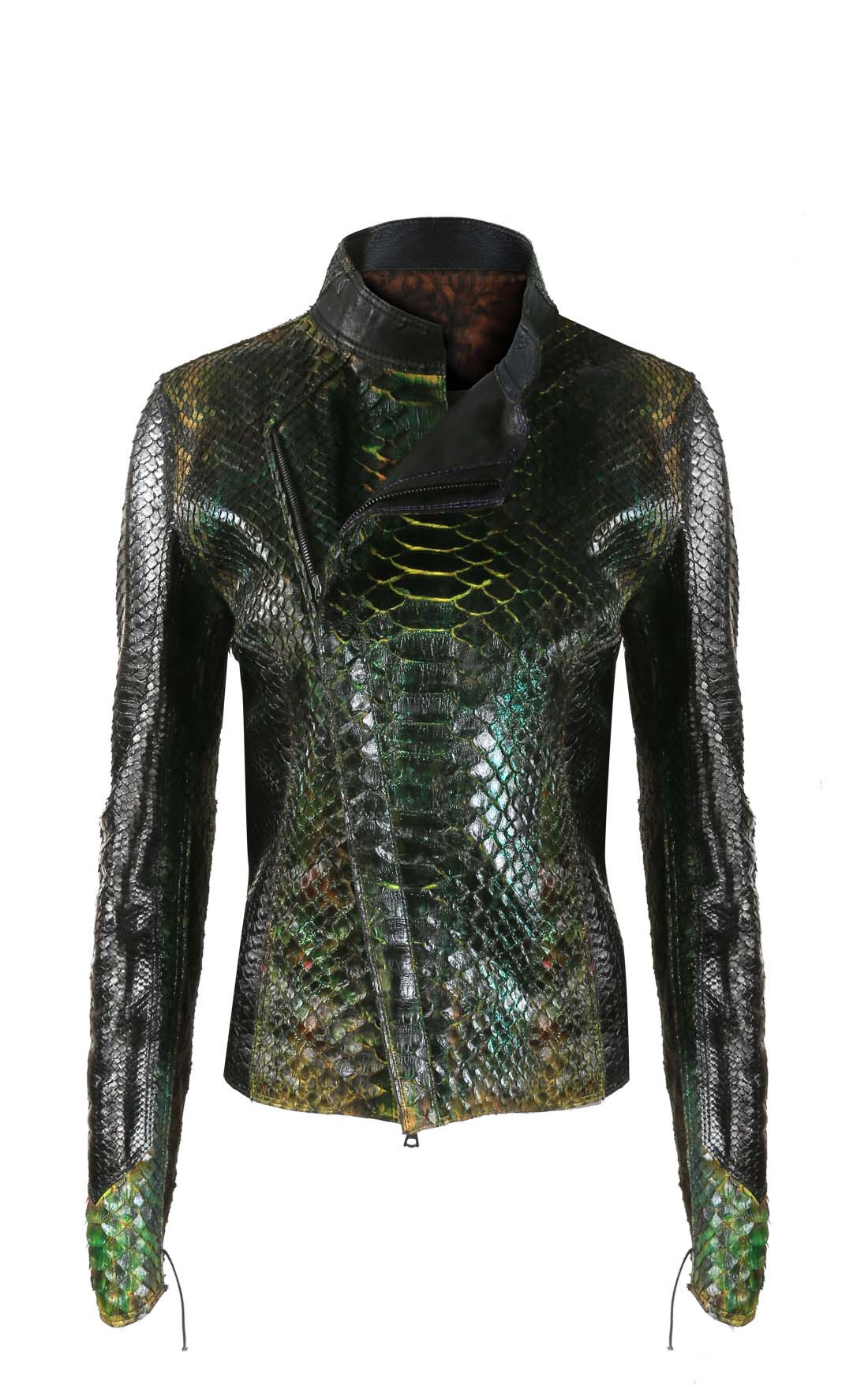Anton - Green Glittery Python Jacket with Lace Inserts (Pythongreen)