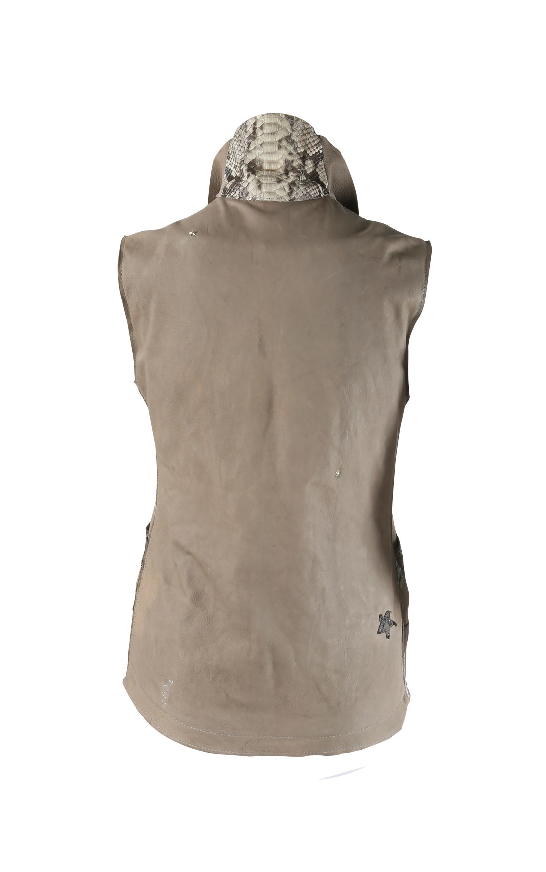 Anton - Sand Leather Reversible Vest with Python Trimming (Vest)