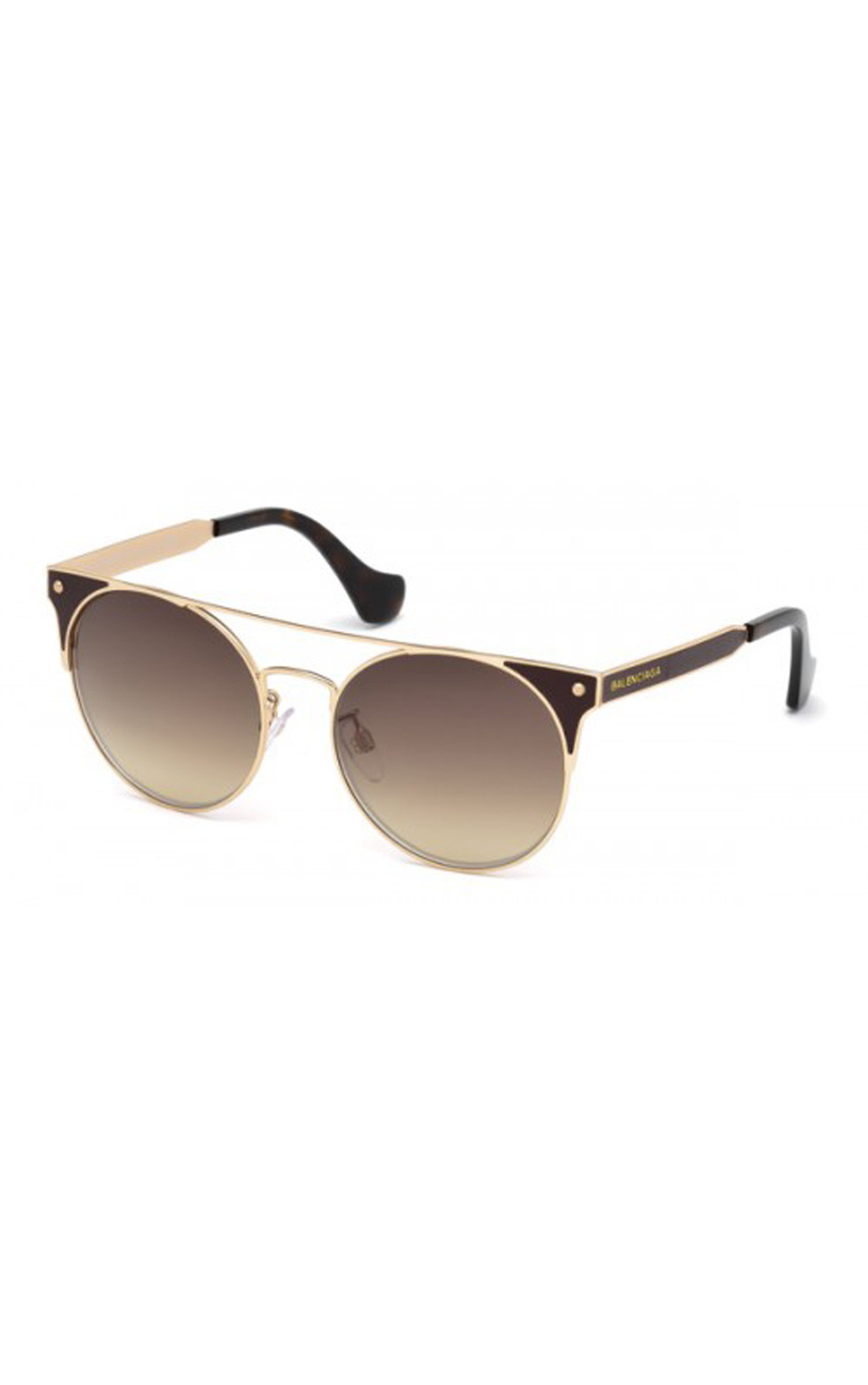 Balenciaga - Gold Brown Geometric Sunglasses (BA00715471F)