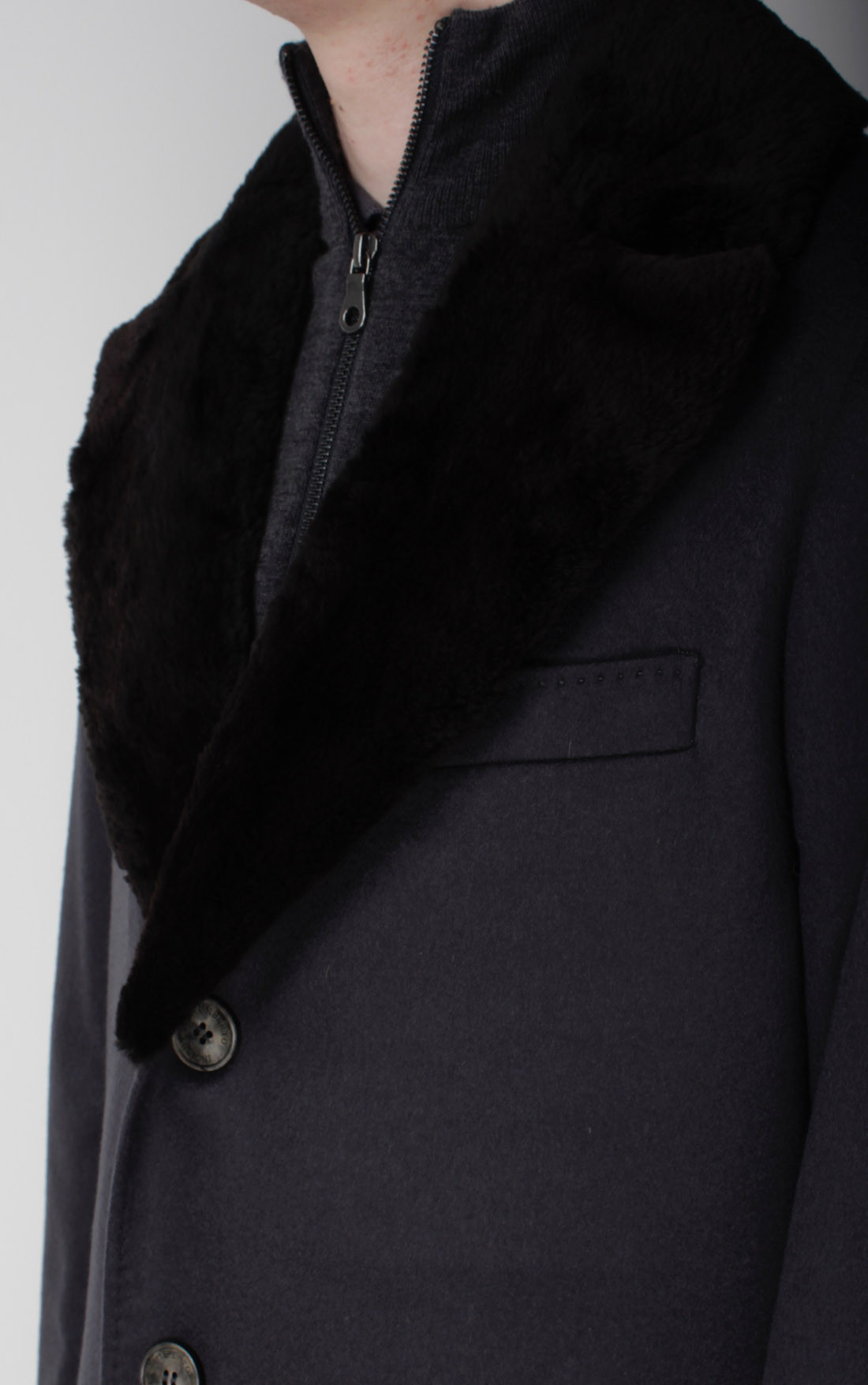 Umberto Bilancioni - Grey Cashmere Coat with Mink Collar (A6UGT019)