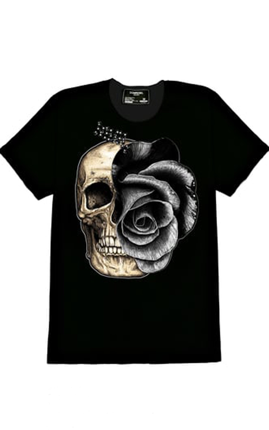 Dom rebel mens skull rose black swarovski crystal t for Swarovski crystal t shirts