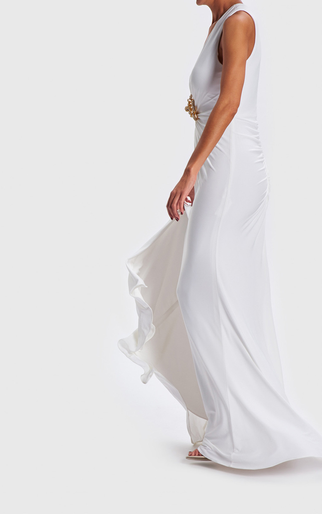 Forever Unique - Jeannie Ivory Gown With Diamante Brooch (AB0921)
