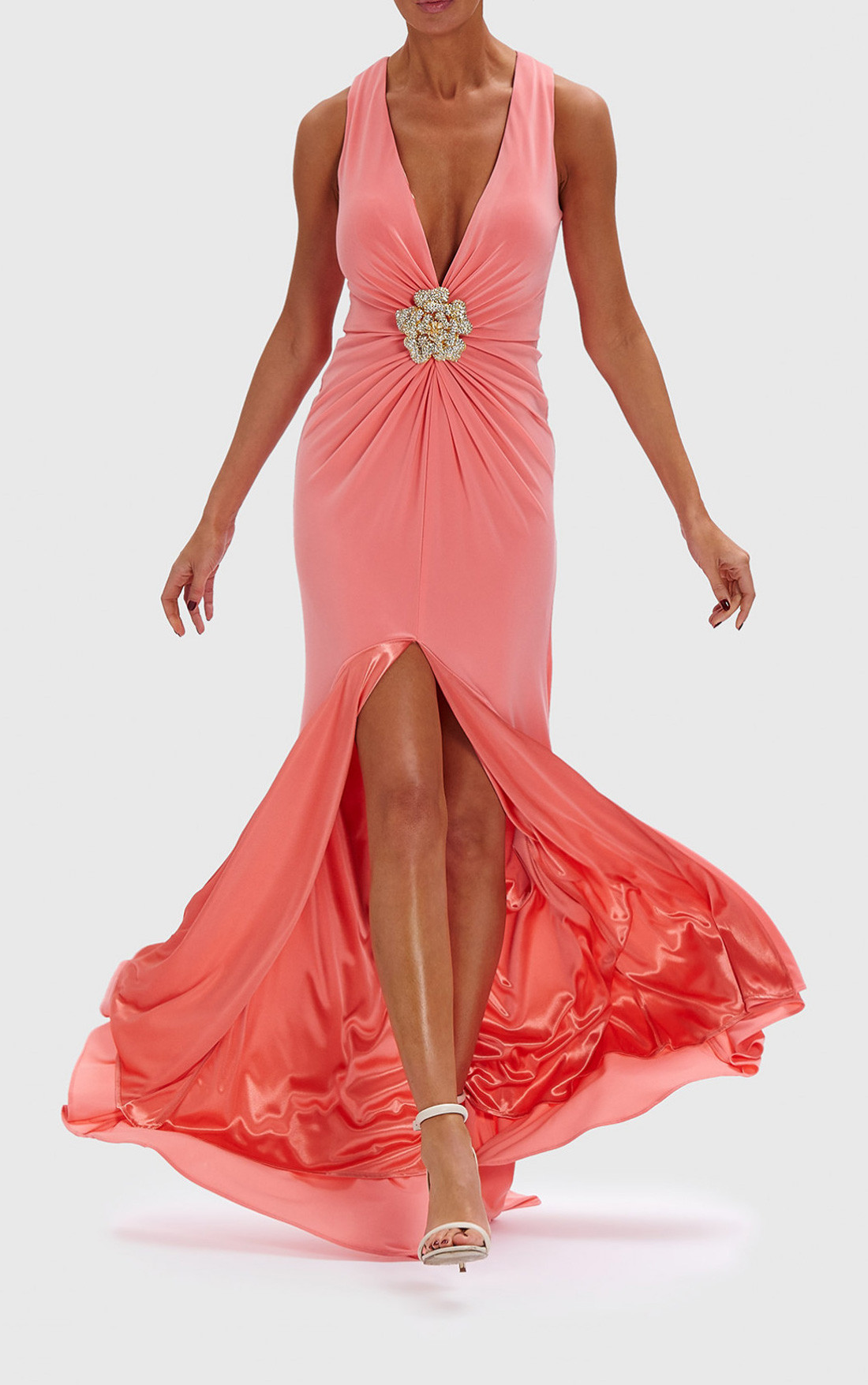 Forever Unique - Jeannie Peach Gown With Diamante Brooch (AB0921)