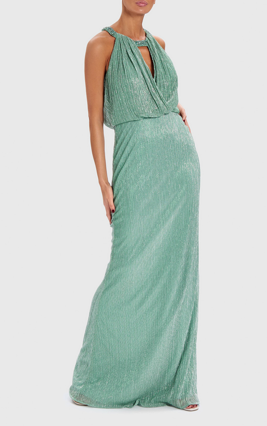 Forever Unique - Shimmer Mint Metallic Draped Maxi Dress (AB0922)