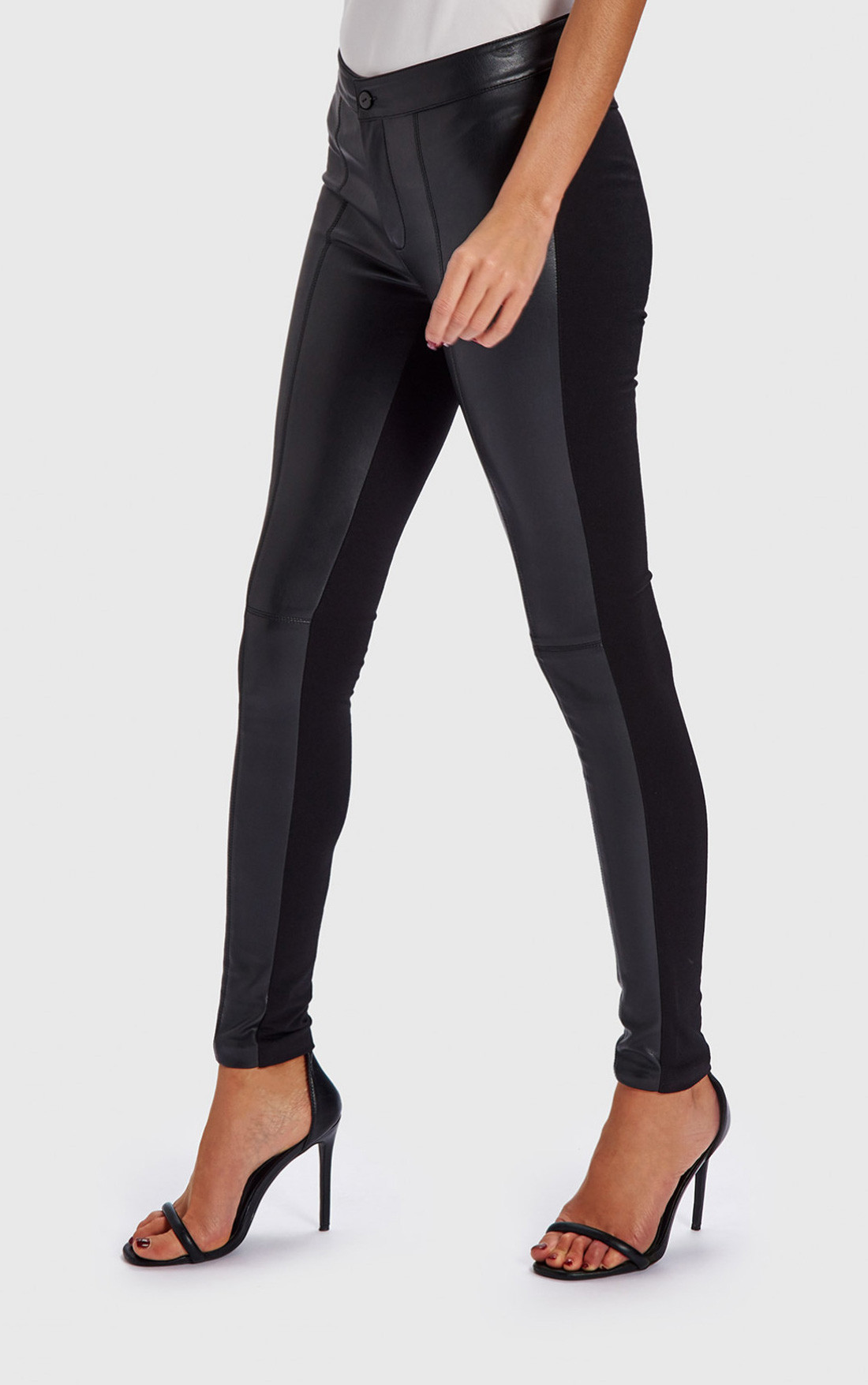 Forever Unique - Nell Black Leather Effect Jeggings (WF1805)