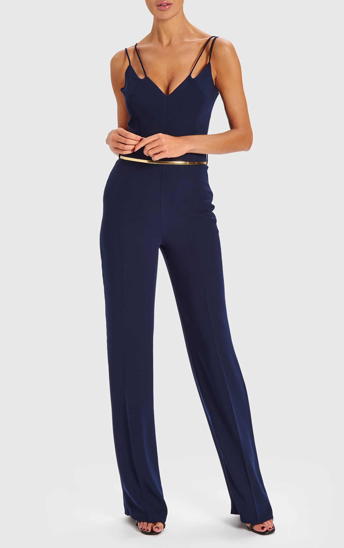 Forever Unique - Brooke Navy Double Strap Jumpsuit With Gold Waistband (AB8904)