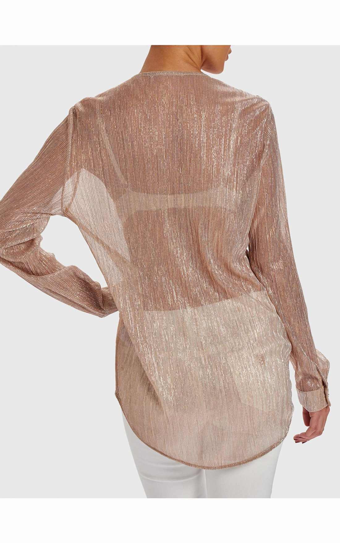 Forever Unique - Strike Pink Draped Metallic Blouse With Military Buttons (AB9004)