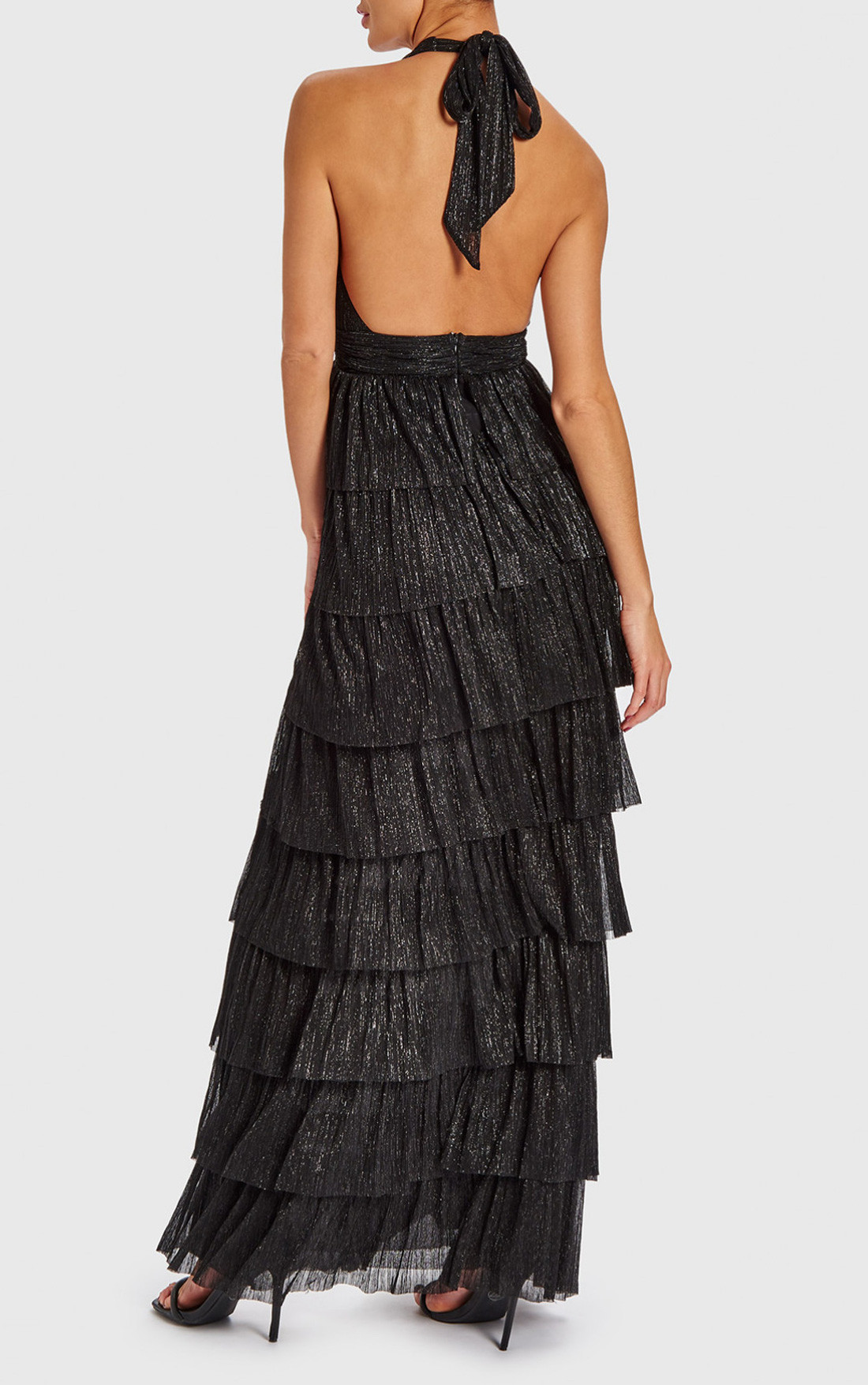 Forever Unique - Marleen Black Metallic Tiered Ruffle Maxi Dress (AB9701)