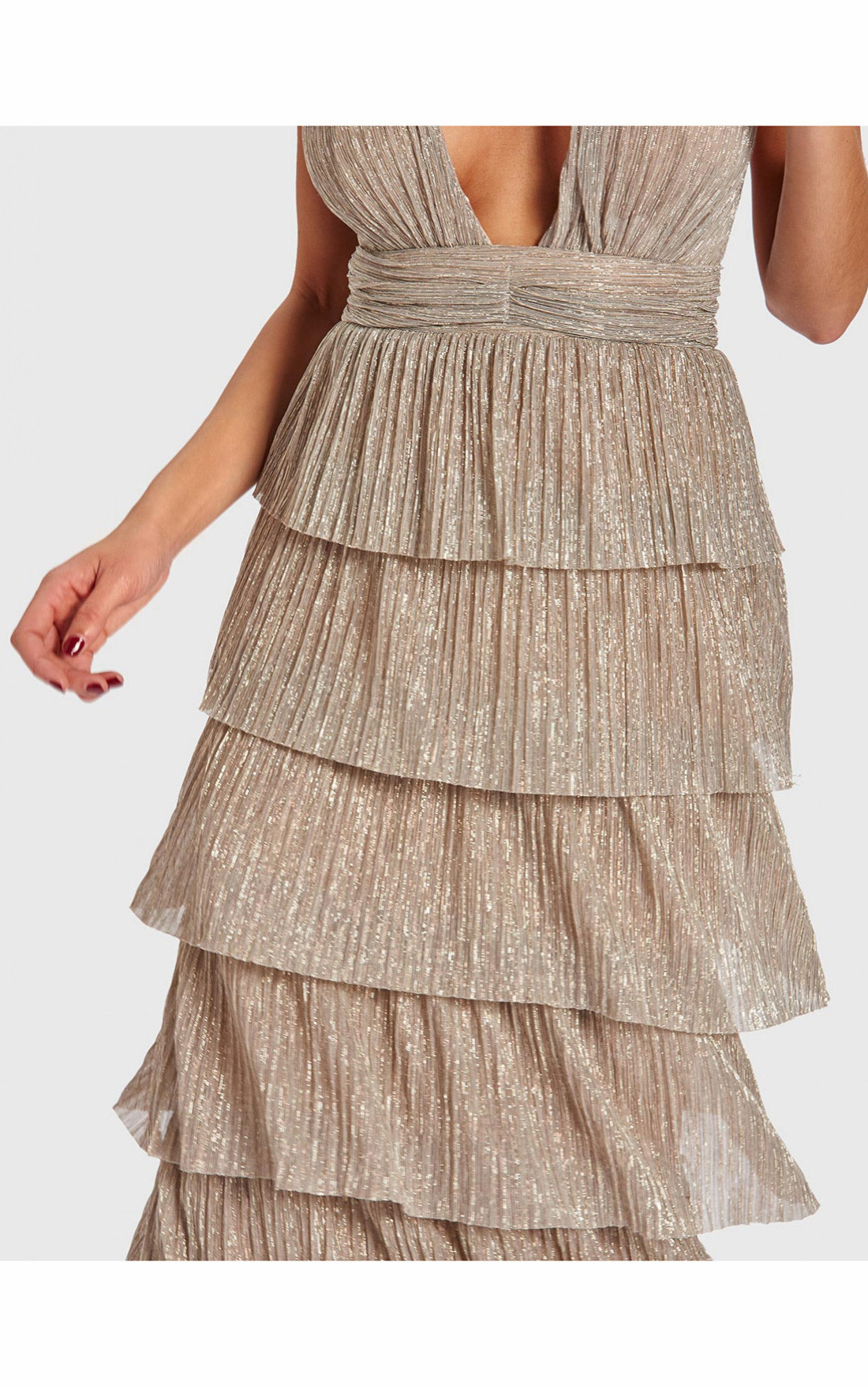 Forever Unique - Marleen Stone Metallic Tiered Ruffle Maxi Dress (AB9701)