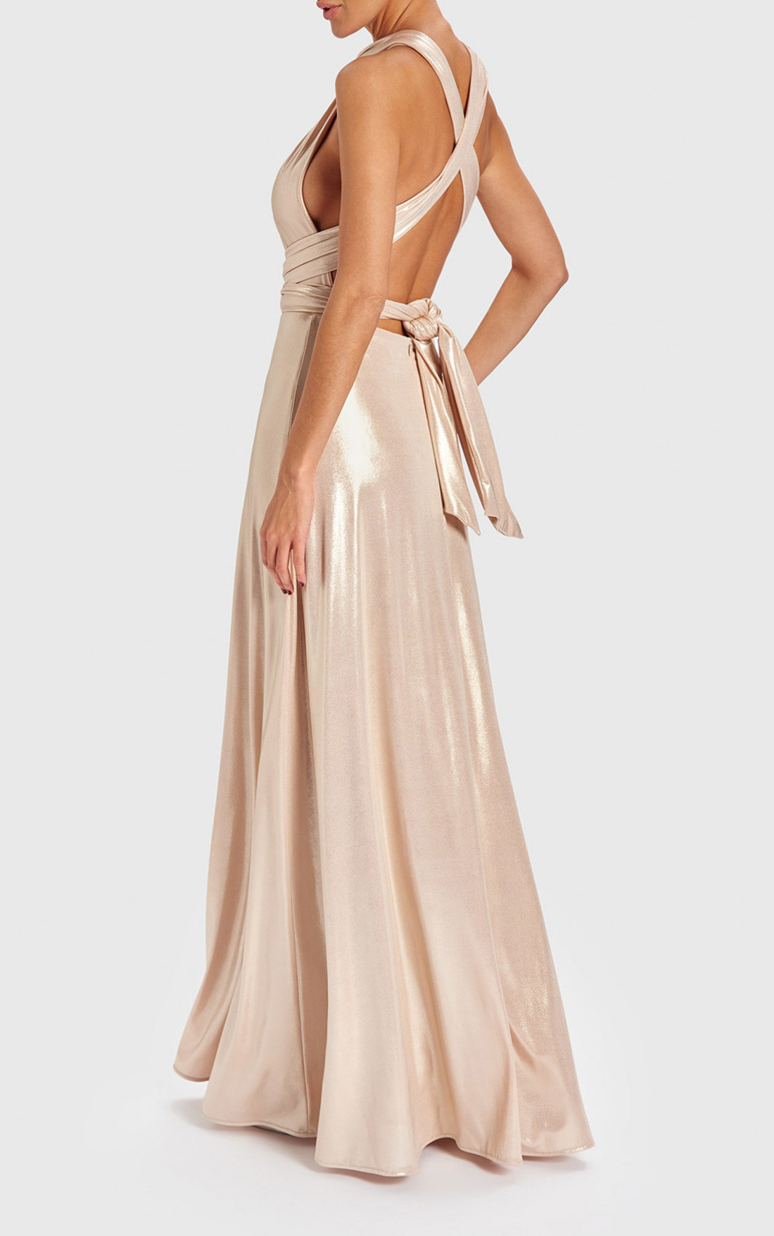 Forever Unique - Esta Gold Metallic Crossover Maxi Dress (AB9725)