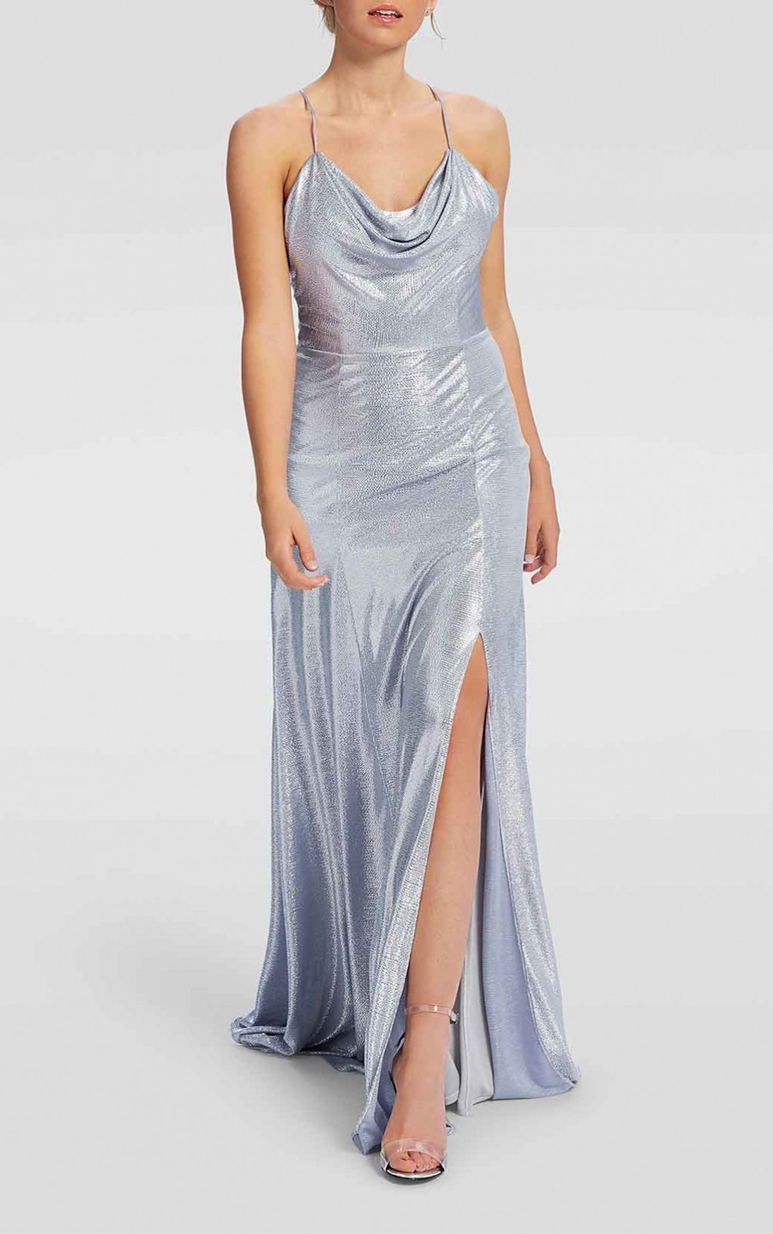Forever Unique - Mojito Metallic Silver Cowl Neck Maxi Evening Gown (AF1007)