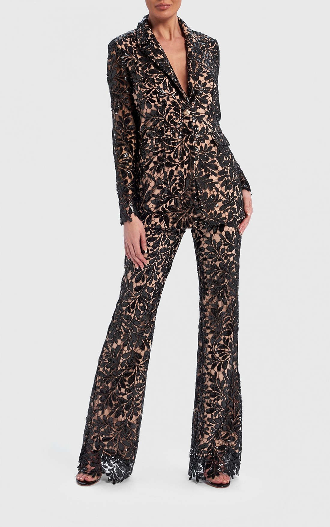 Forever Unique - Serena Black And Nude Floral Sequin Sheer Blazer Jacket (AF1106)