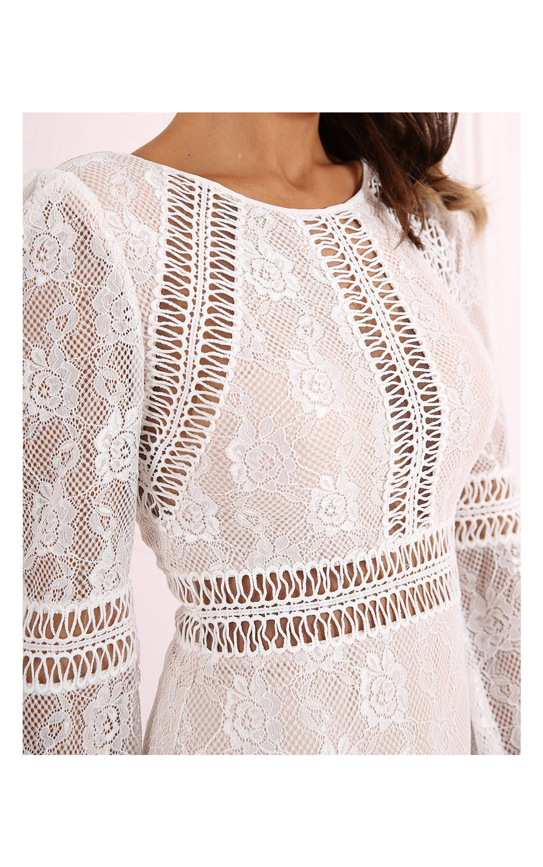 Forever Unique - Teri Ivory Long Sleeve Lace Dress (CH1114)