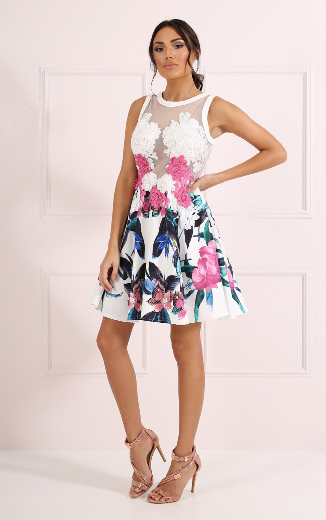 Forever Unique - Verity Floral Print Skater Dress with Floral Lace Applique (CH1711-PRDSFLR)