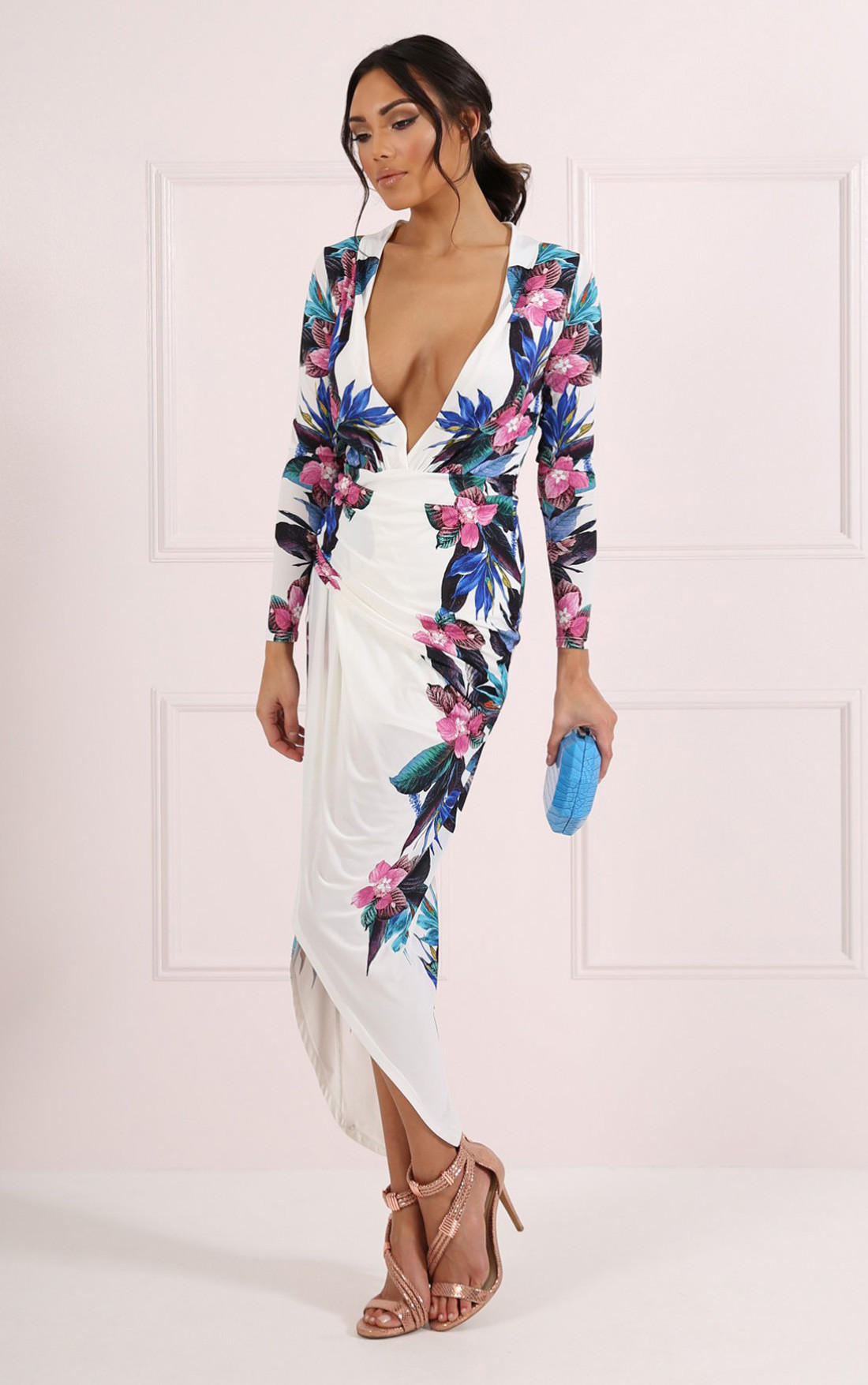 Forever Unique - Zelda White Floral Print Wrap Plunge Dress (CH1738-PARADSE)