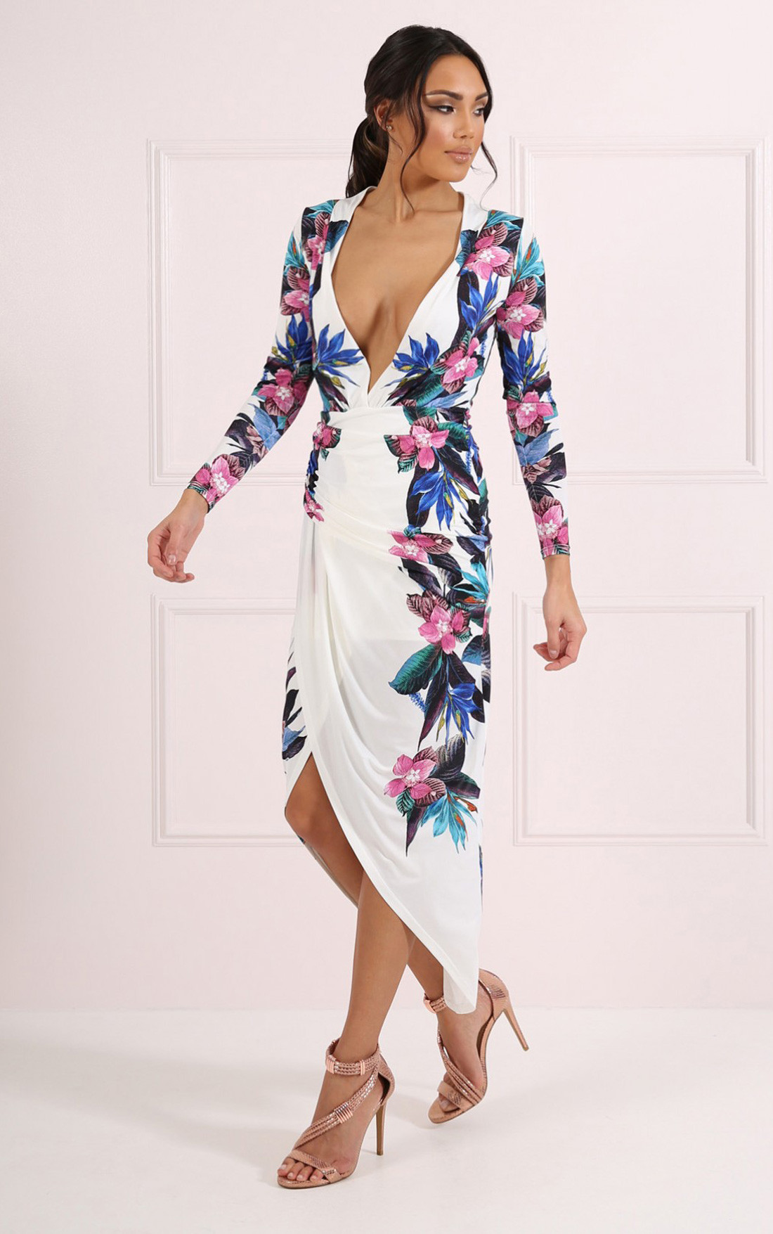 Plunge Dresses  Long Sleeve Deep Plunge Dress  In The Style