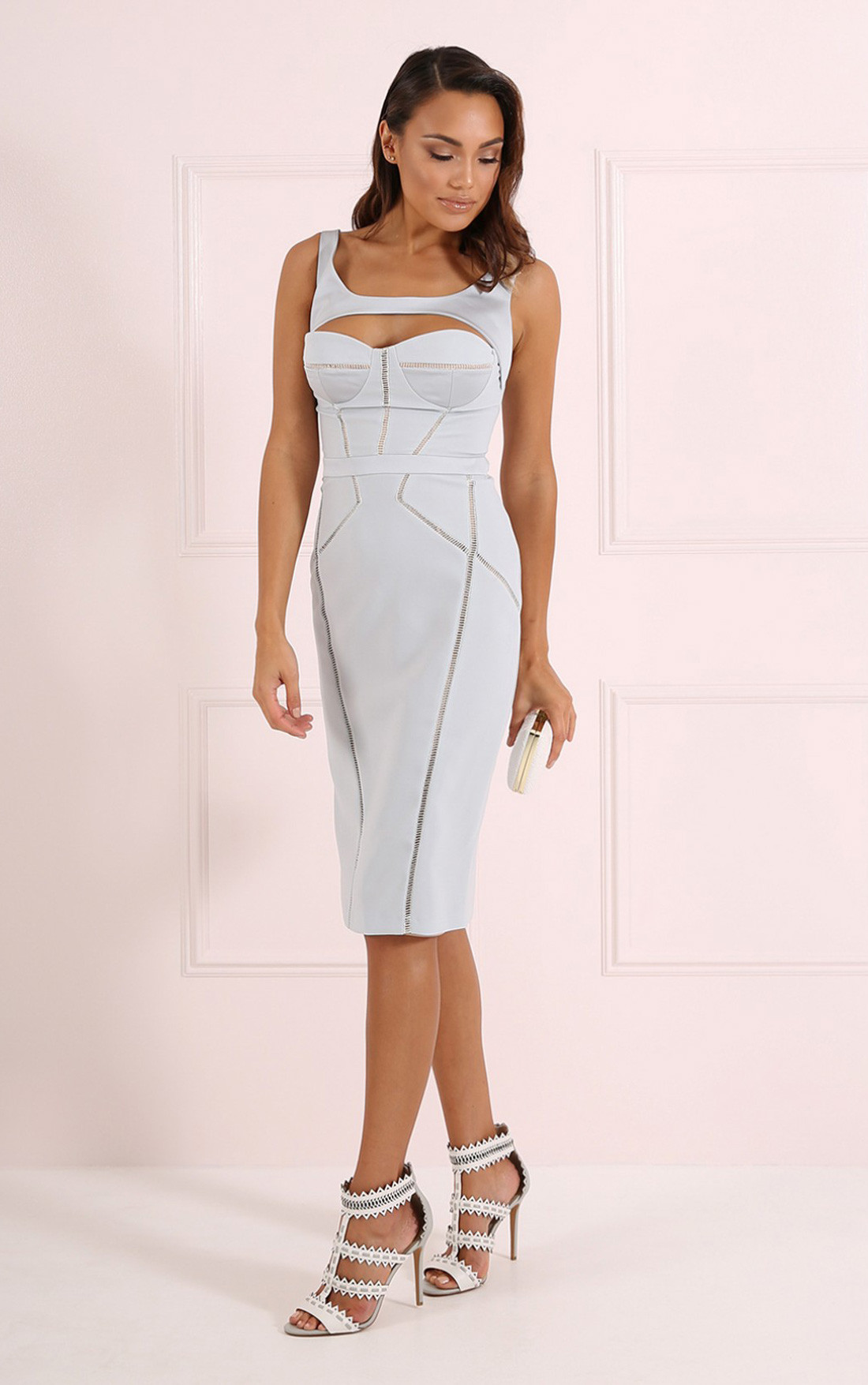 Forever Unique - Jane Blue Pencil Dress with Cut Out Detail (CH8501-BLUE)