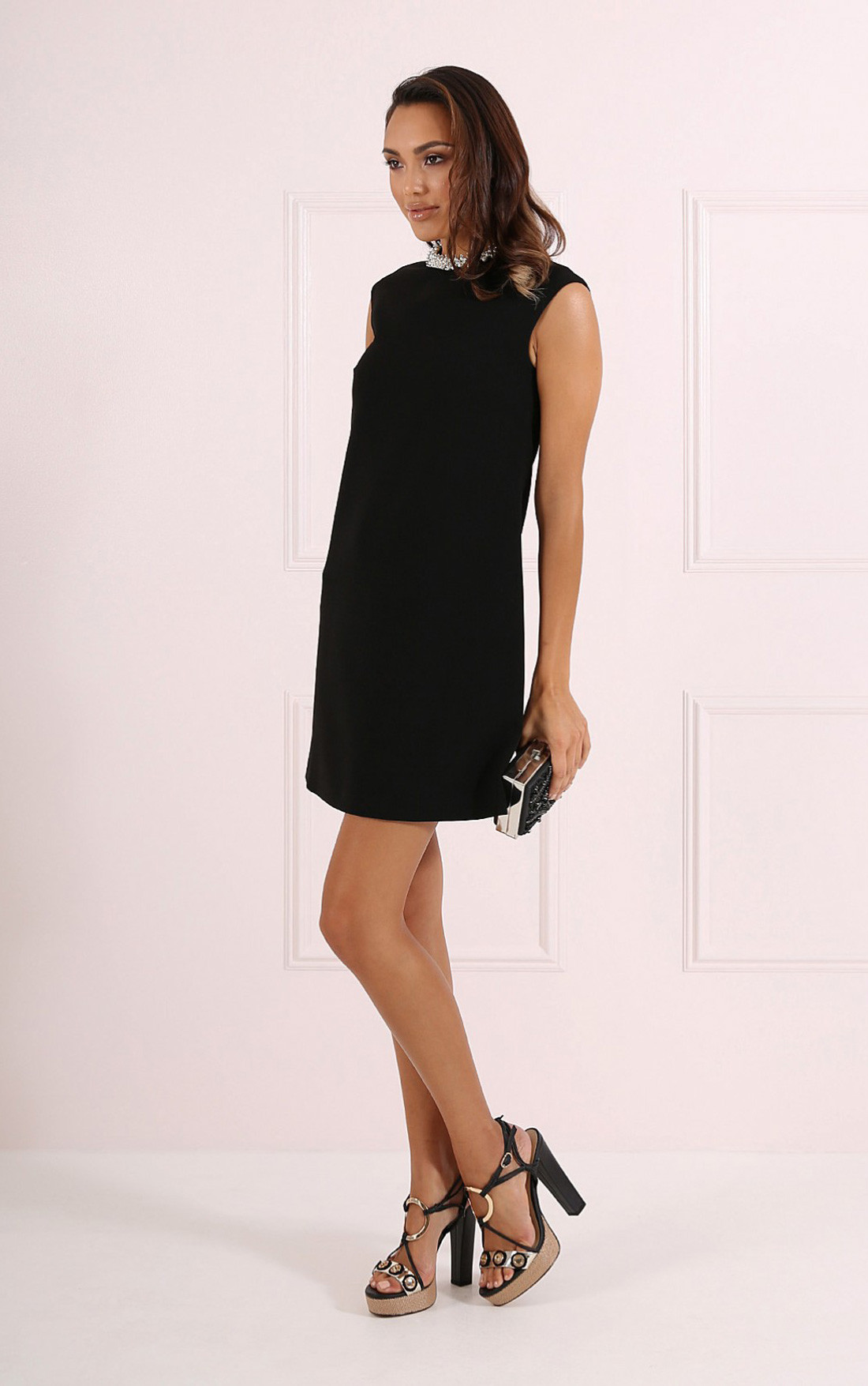 Forever Unique - Misha Black A-Line Dress with Pearl Collar (CH8509-BLACK)