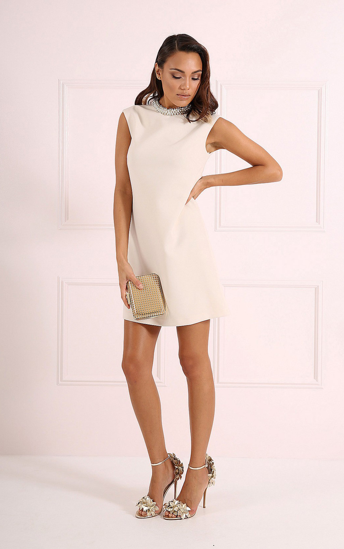 Forever Unique - Misha Ivory A-Line Dress with Pearl Collar (CH8509-NEUTRAL)