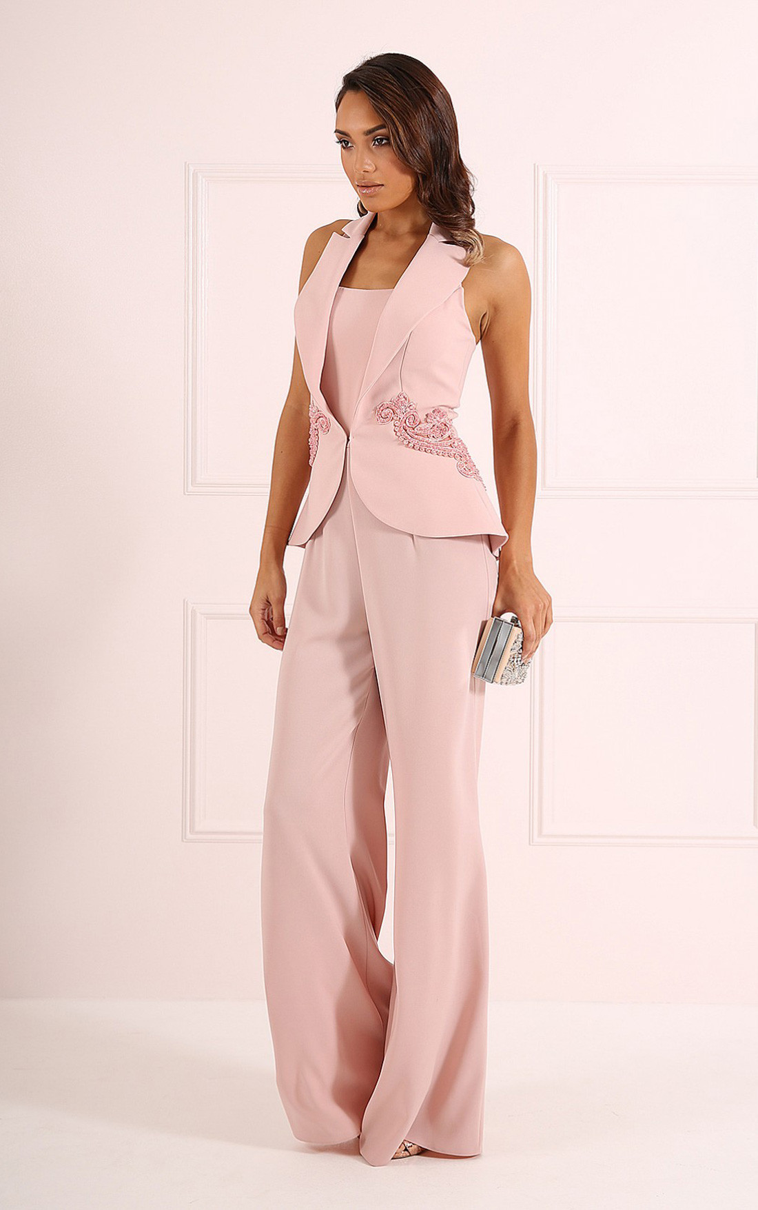 Forever Unique - Andie Nude Tuxedo Style Jumpsuit (CH8802)