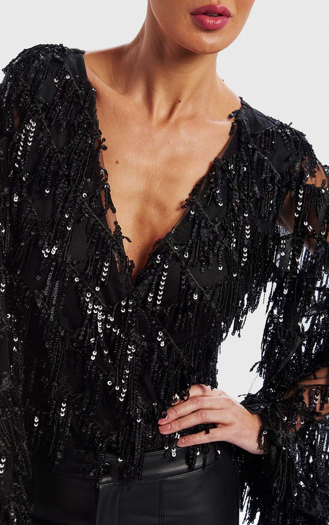 Forever Unique - Black Tassel Sequin Bodysuit (DF18118)