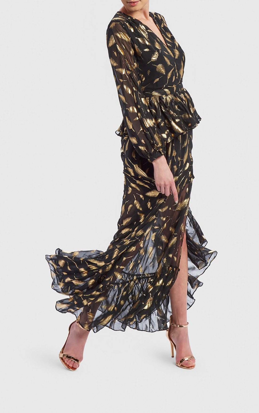 Forever Unique - Black Dress with Gold Leaves (DF18149)