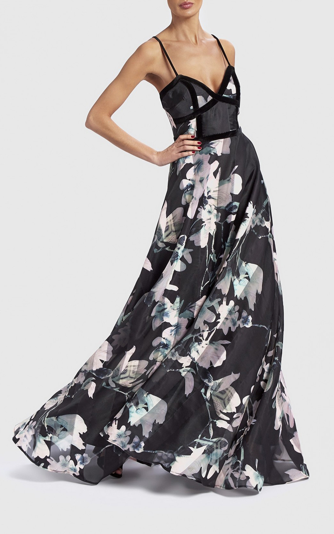 Forever Unique - Black Dress with Pink Floral Print (DF18155)