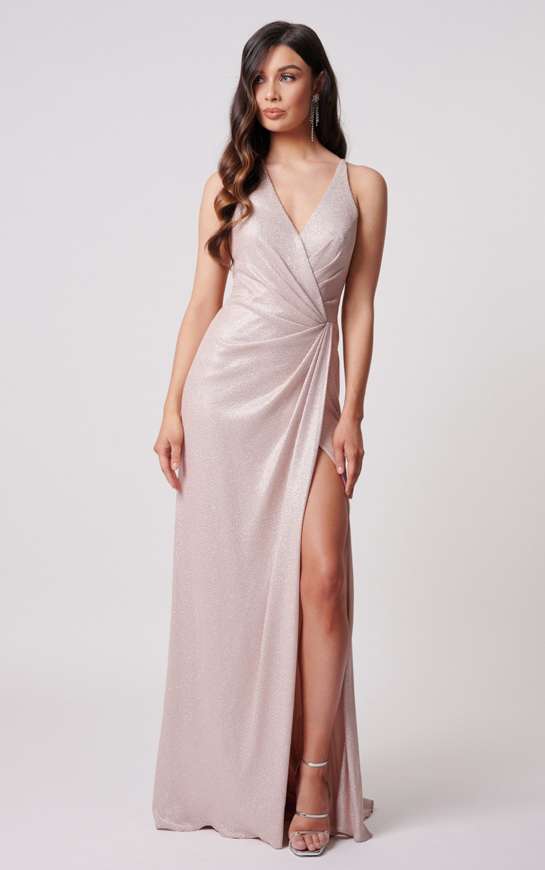 Forever Unique - Odessa Soft Pink Glitter Wrap Maxi Dress With Thigh Split (MN200201)