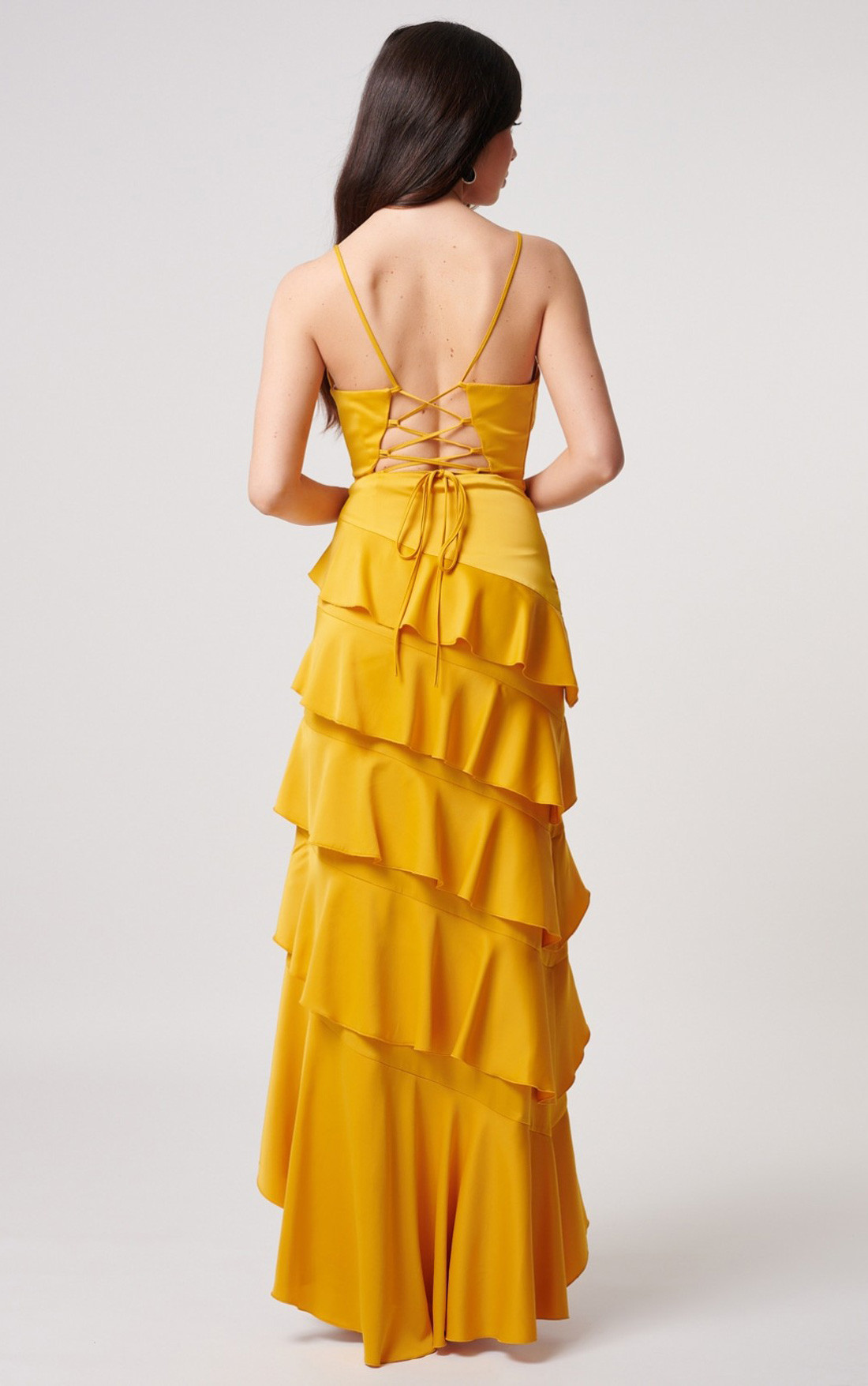 Forever Unique - Kalene Yellow Satin Maxi Dress With Tiered Ruffle Detailing (MN201002)