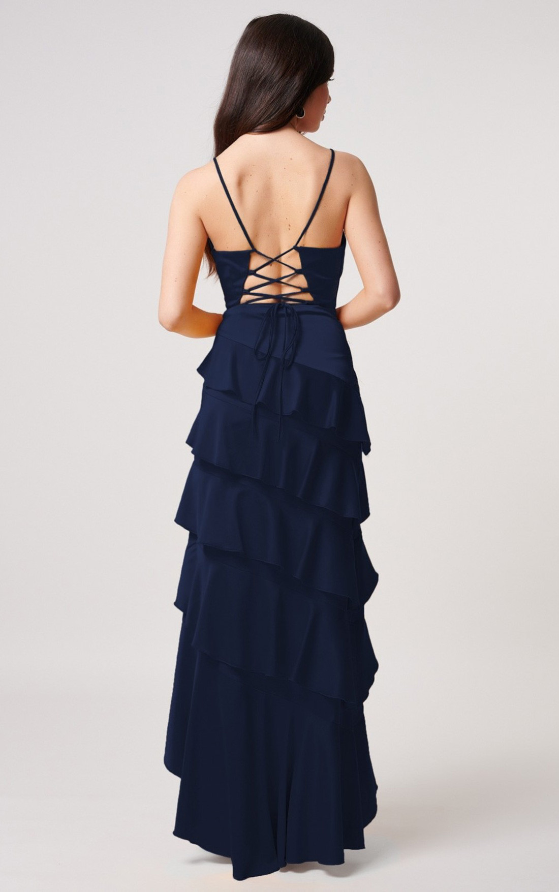 Forever Unique - Kalene Blue Satin Maxi Dress With Tiered Ruffle Detailing (MN201002)