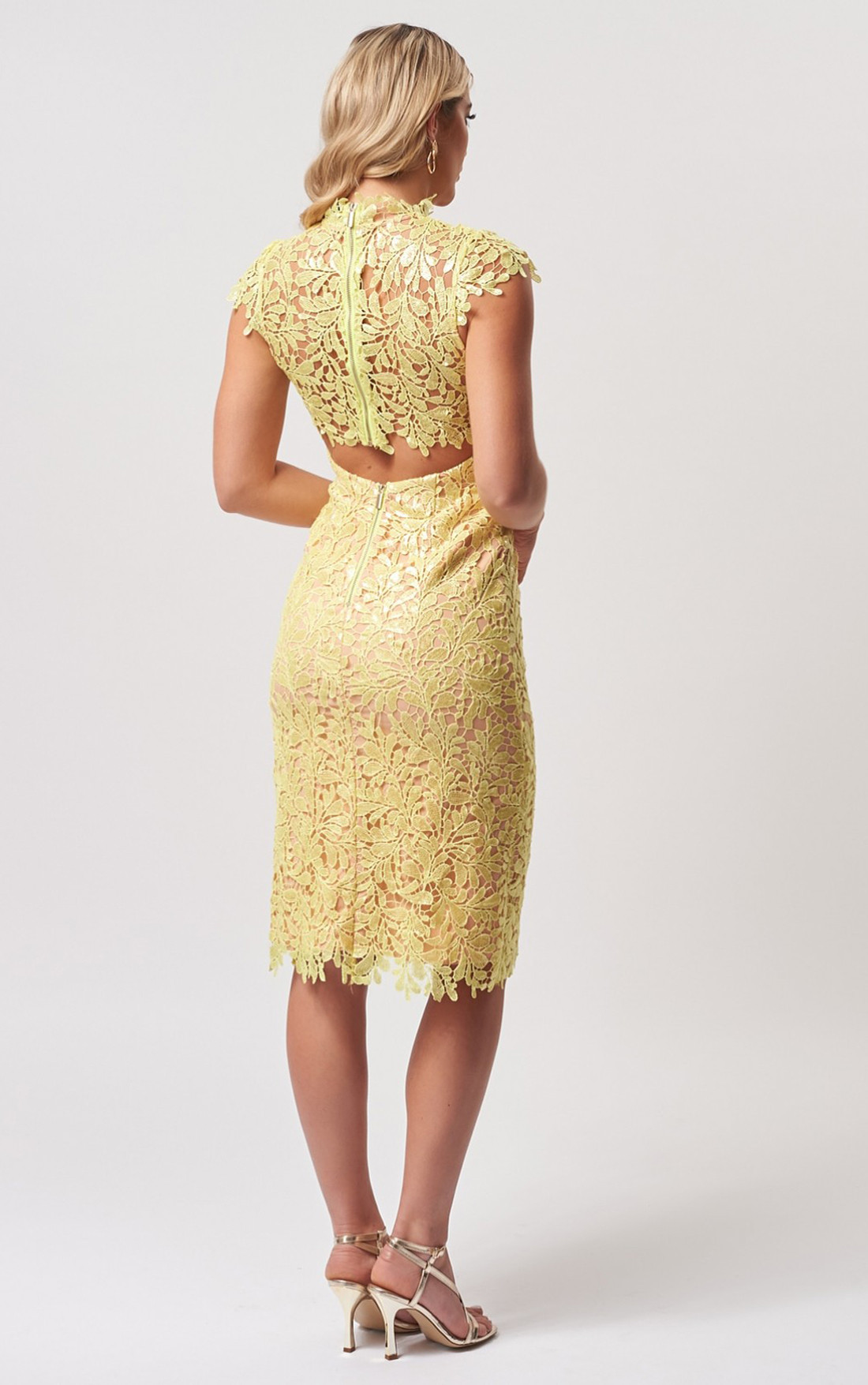 Forever Unique - Rivet Lime Sequin Floral Lace Embroidered Midi Dress (MN201153)