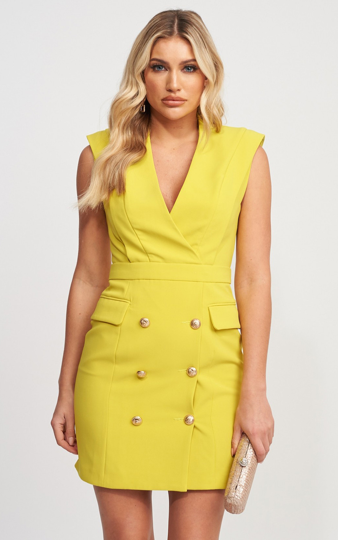 Forever Unique - Maddy Lime Sleeveless Blazer Dress With Gold Button Detail (MN201155)