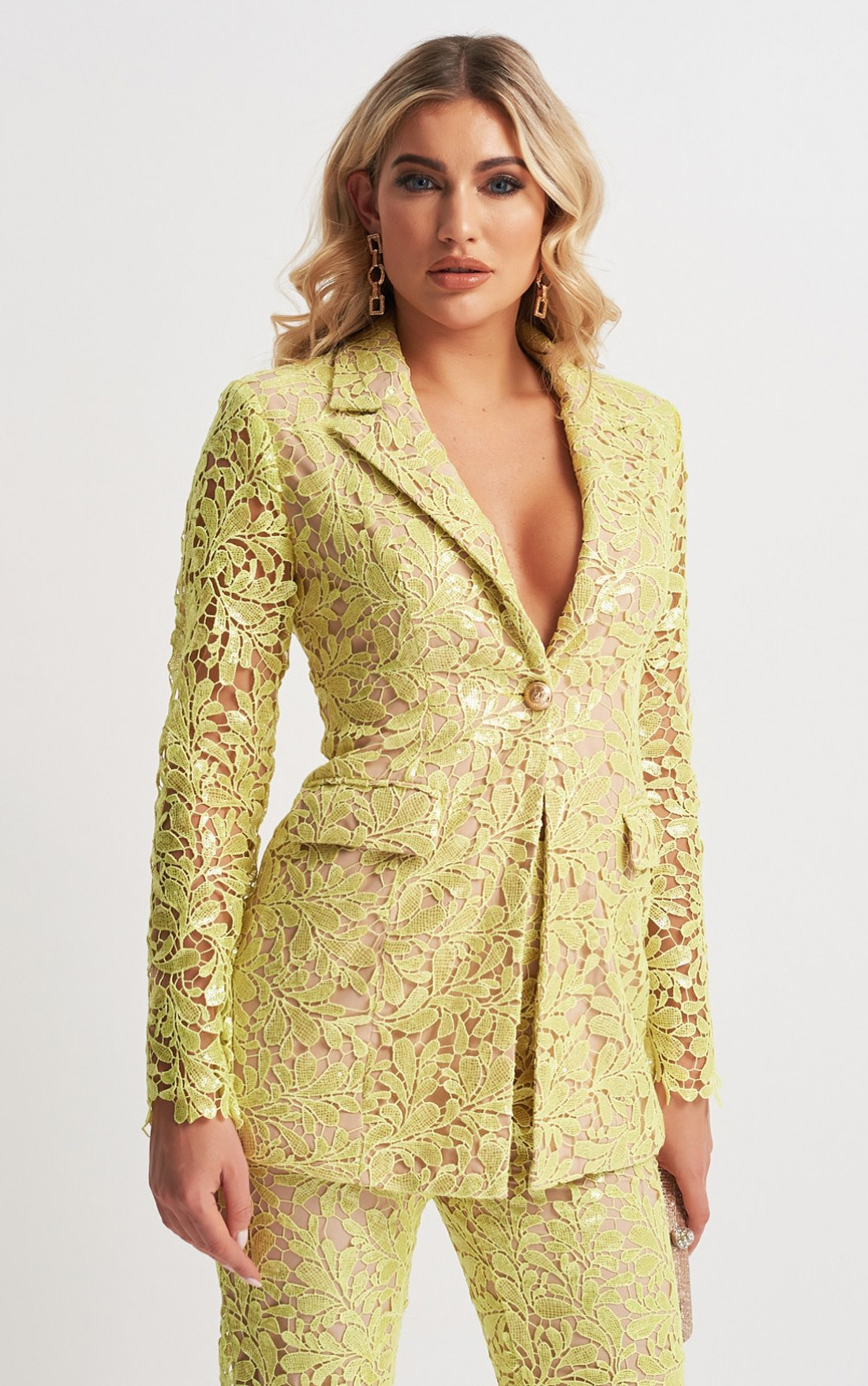 Forever Unique - Kimberley Lime Floral Lace Sequin Suit Jacket (MN201156)