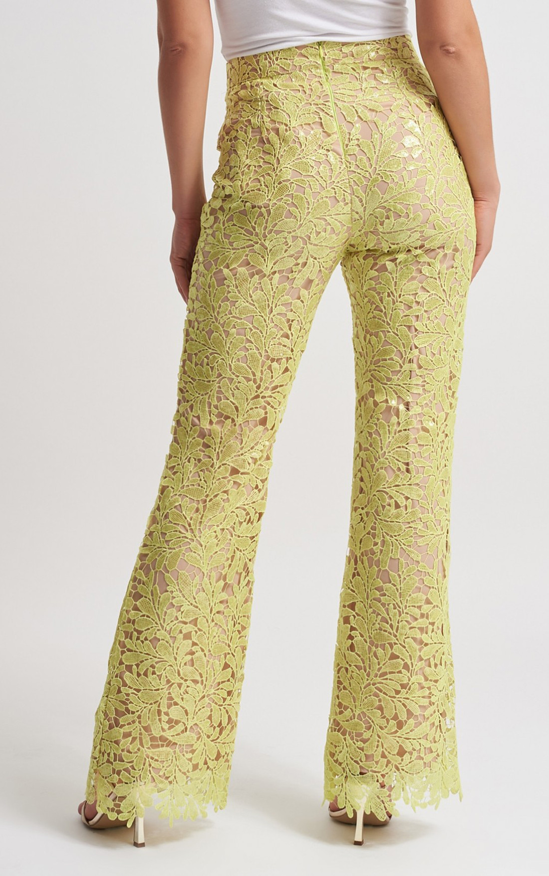 Forever Unique - Lana Lime Floral Lace Sequin Trousers (MN201157)