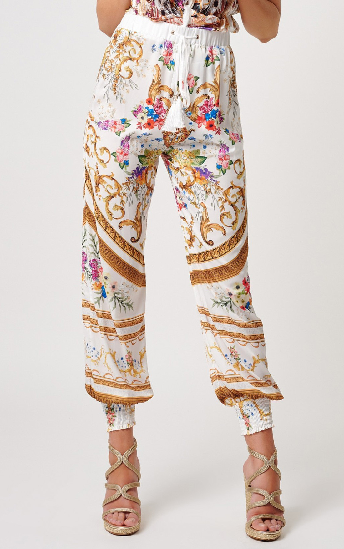 Forever Unique - Lopez White Multi Print Pants (MN201711)