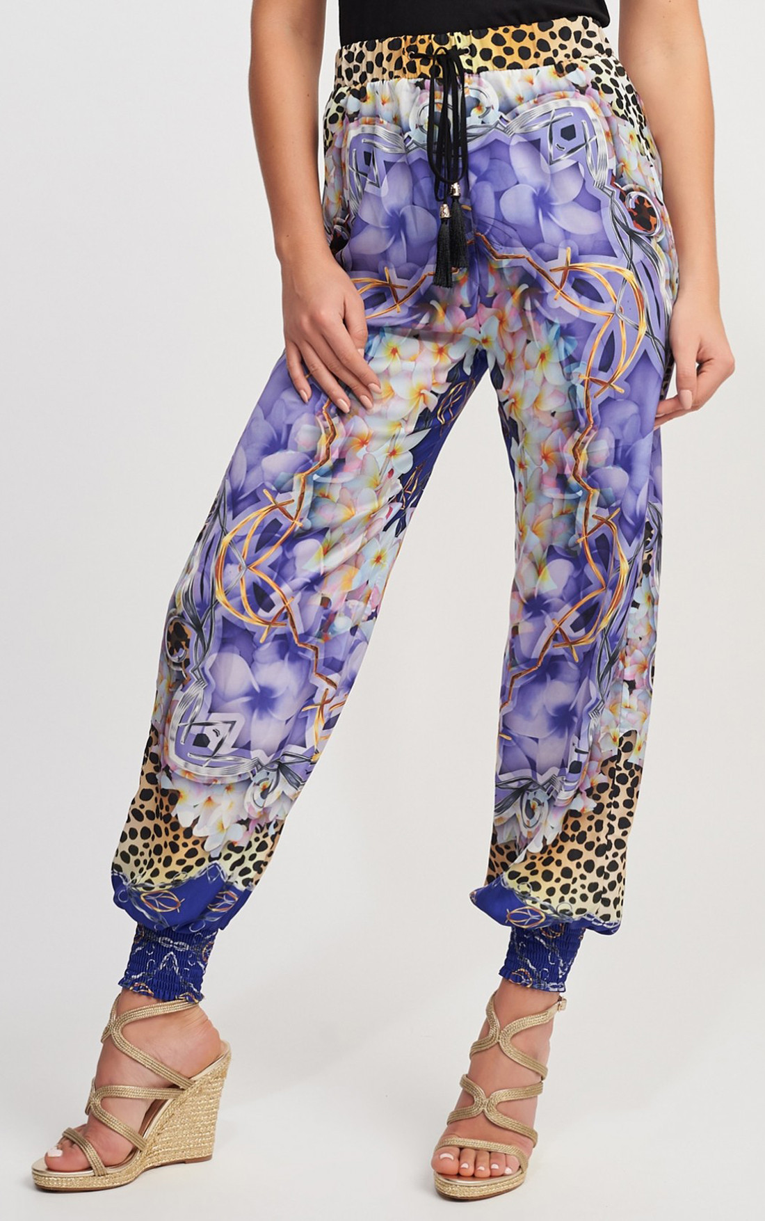 Forever Unique - Cuba Purple Multi Print Pants (MN201719)