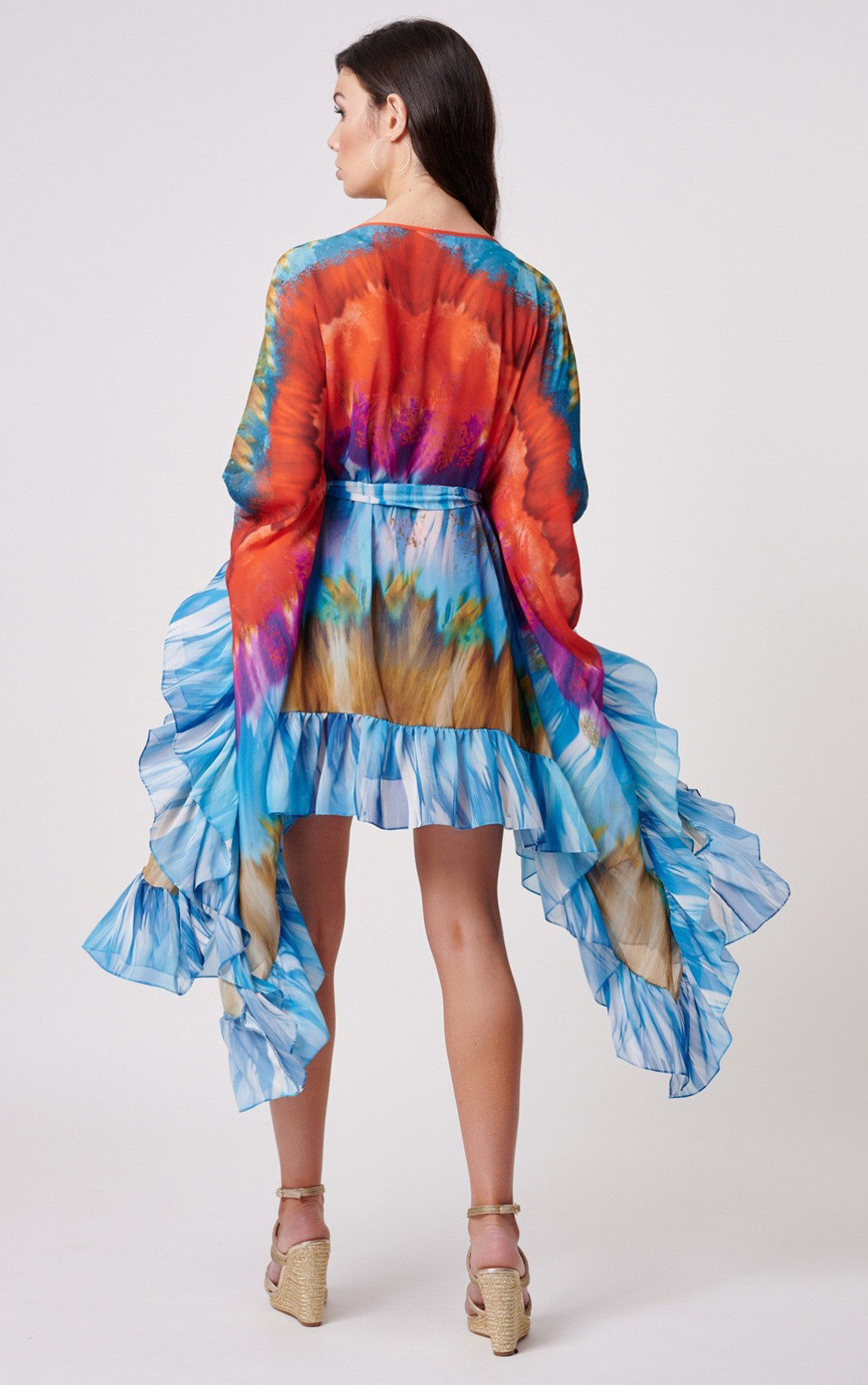Forever Unique - Tiki Multi Colour Kaftan with Ruffle Detail (MN201724)
