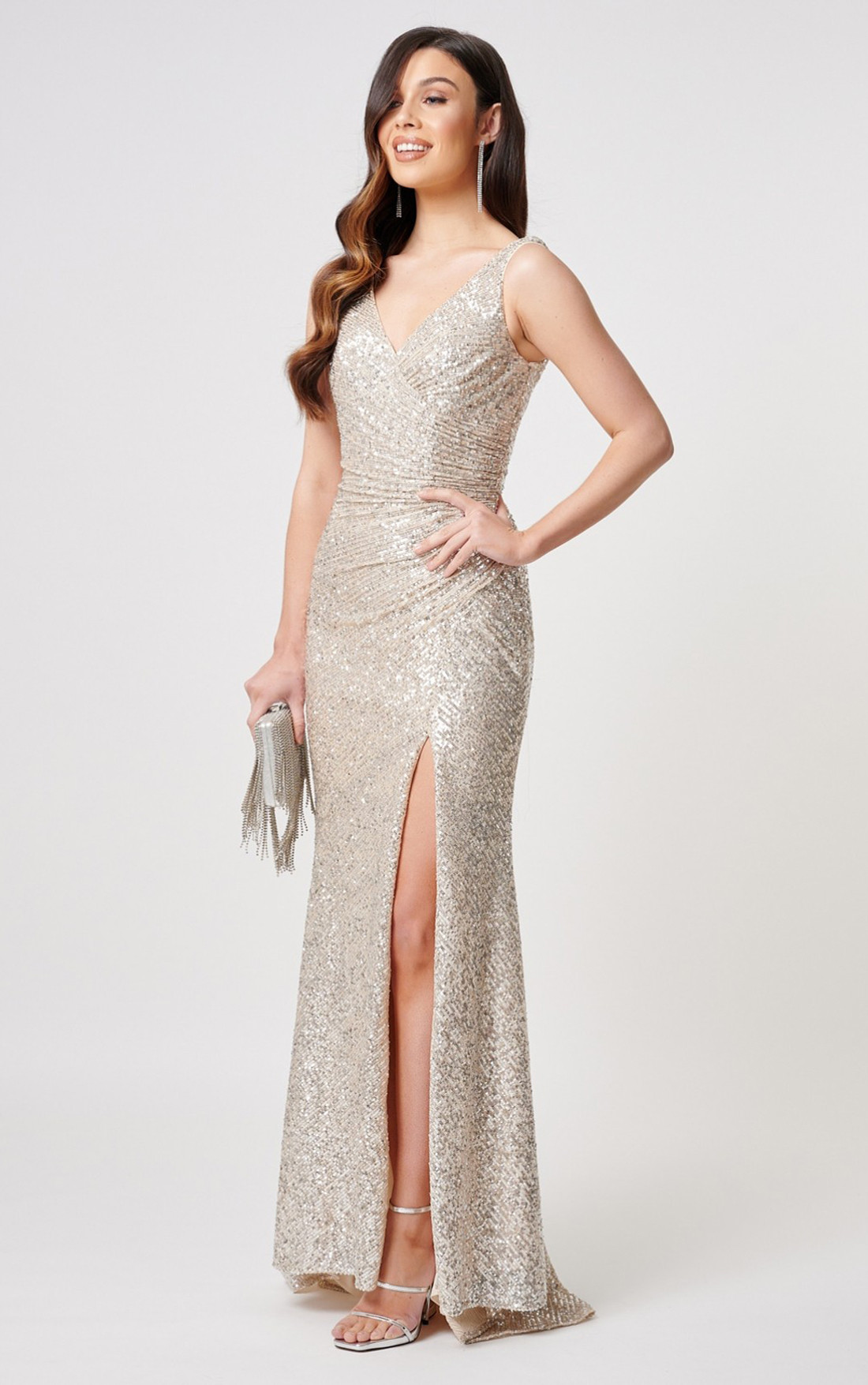 Forever Unique - Fontanne Silver Sequin Thigh Split Maxi Dress (MN201905)
