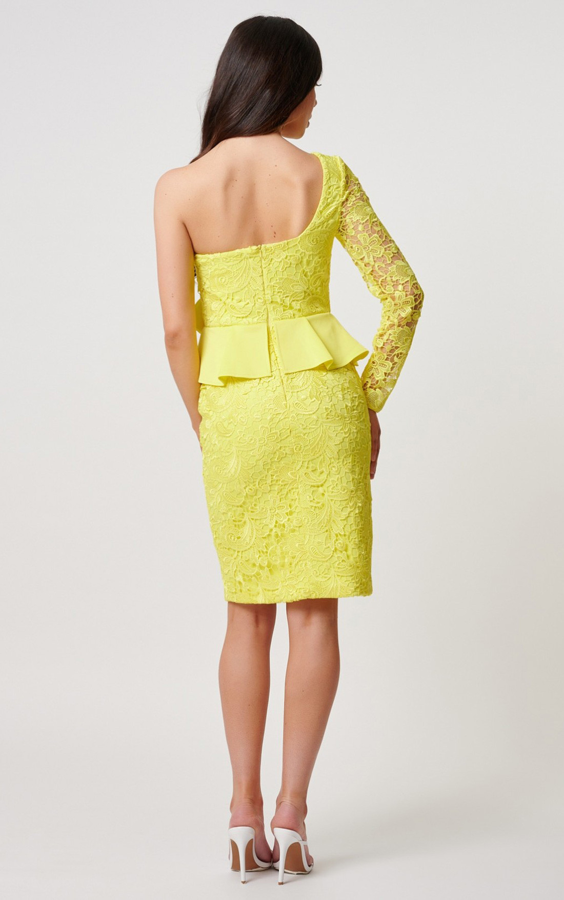Forever Unique - Bronwyn Yellow One Shoulder Peplum Lace Dress (MN201914)