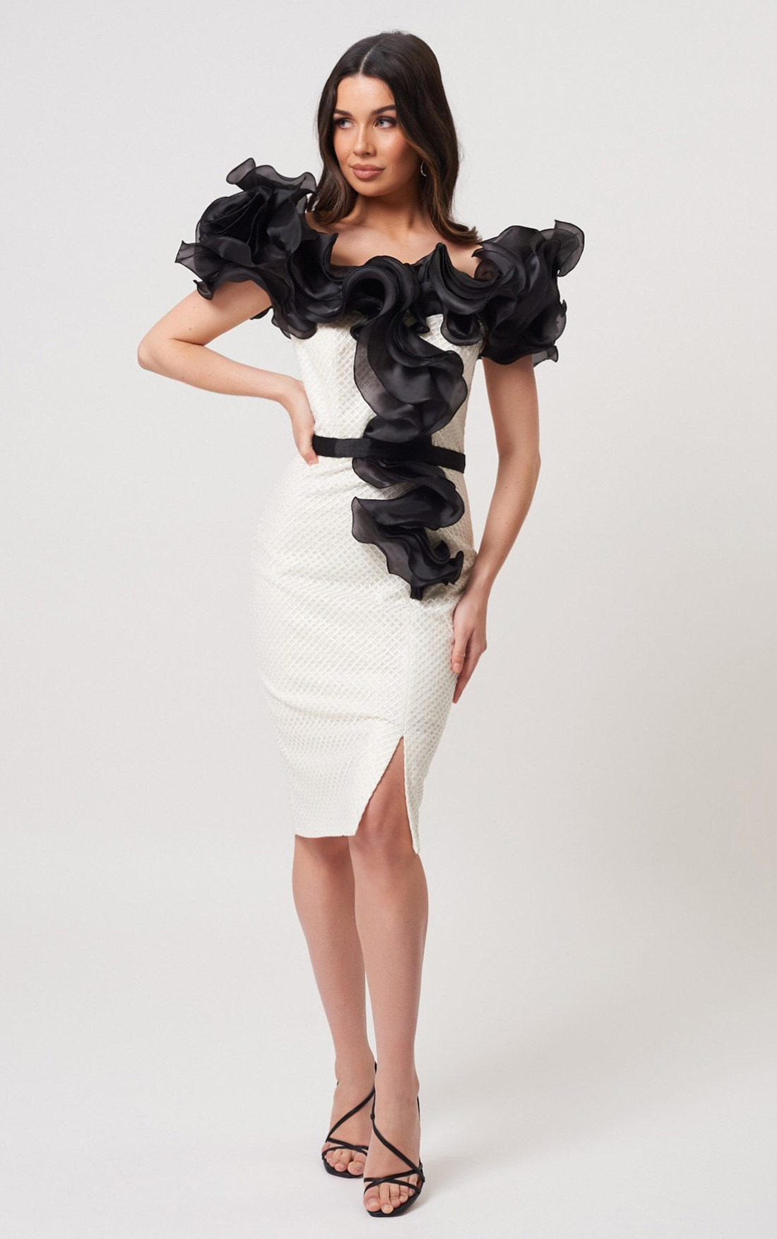 Forever Unique - Joslyn Ivory And Black Midi Dress With Ruffle Frill (MN205402)