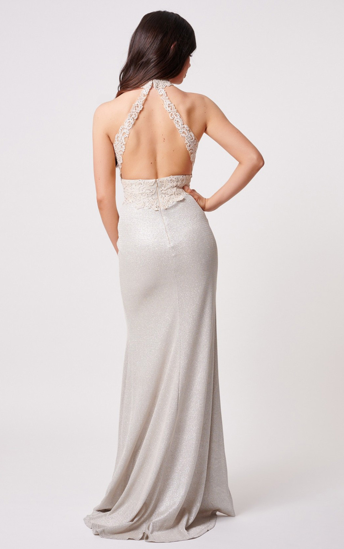Forever Unique - Lydia Champagne Glitter Dress with Open Back (MN206001)