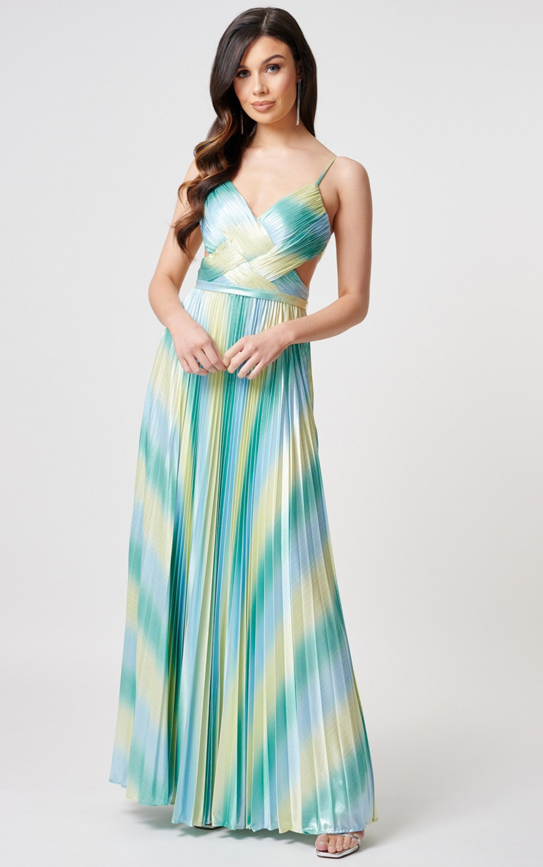 Forever Unique - Gillian Turquoise And Lime Pleated Maxi Dress (MN206803)