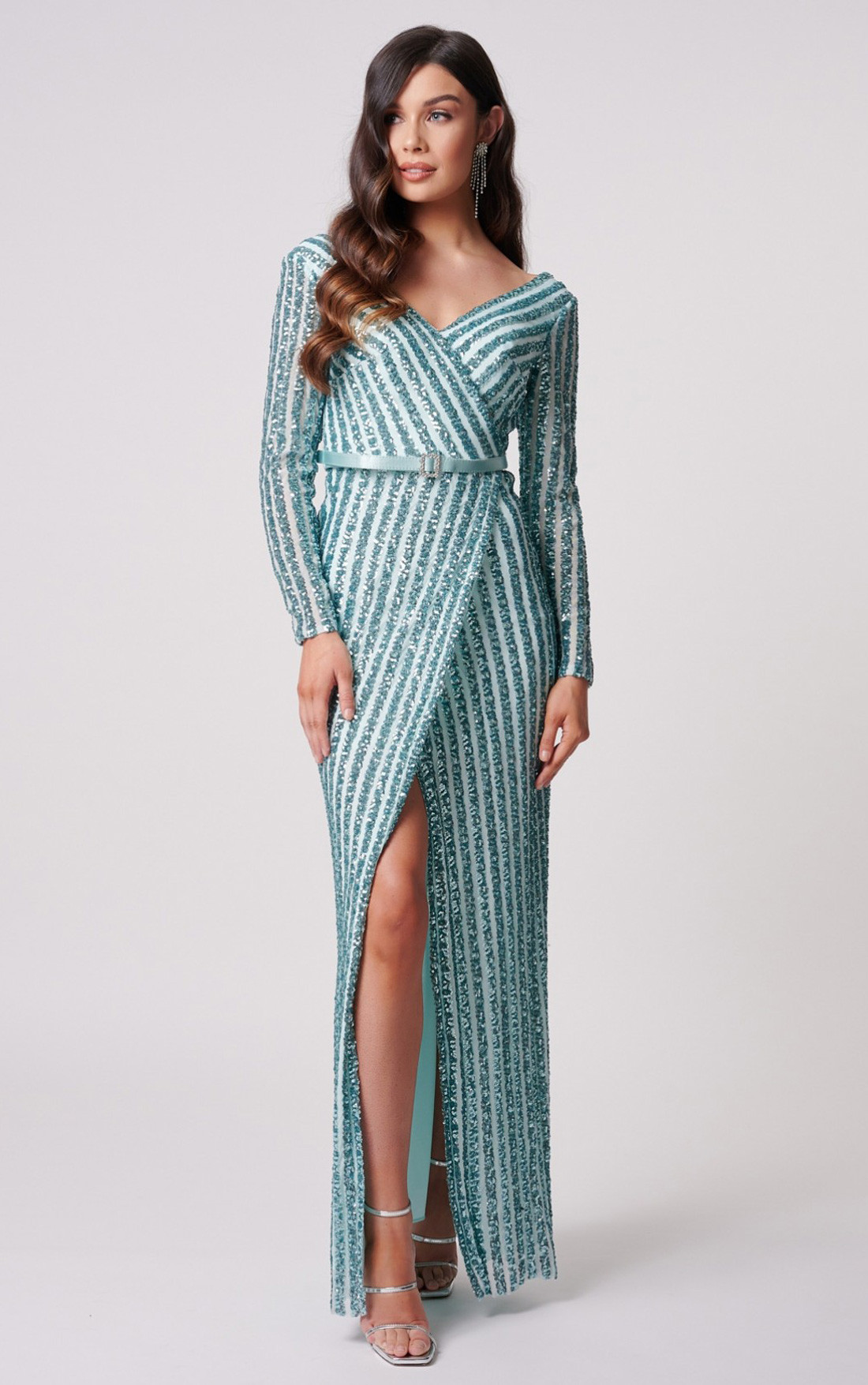 Forever Unique - Ashanti Turquoise Striped Long Sleeve Sequinned Maxi Dress (MN208301)
