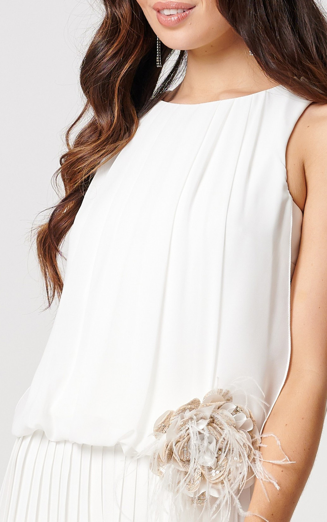 Forever Unique - Padgent Ivory Sleeveless Top With Floral Detailing (MN208801)